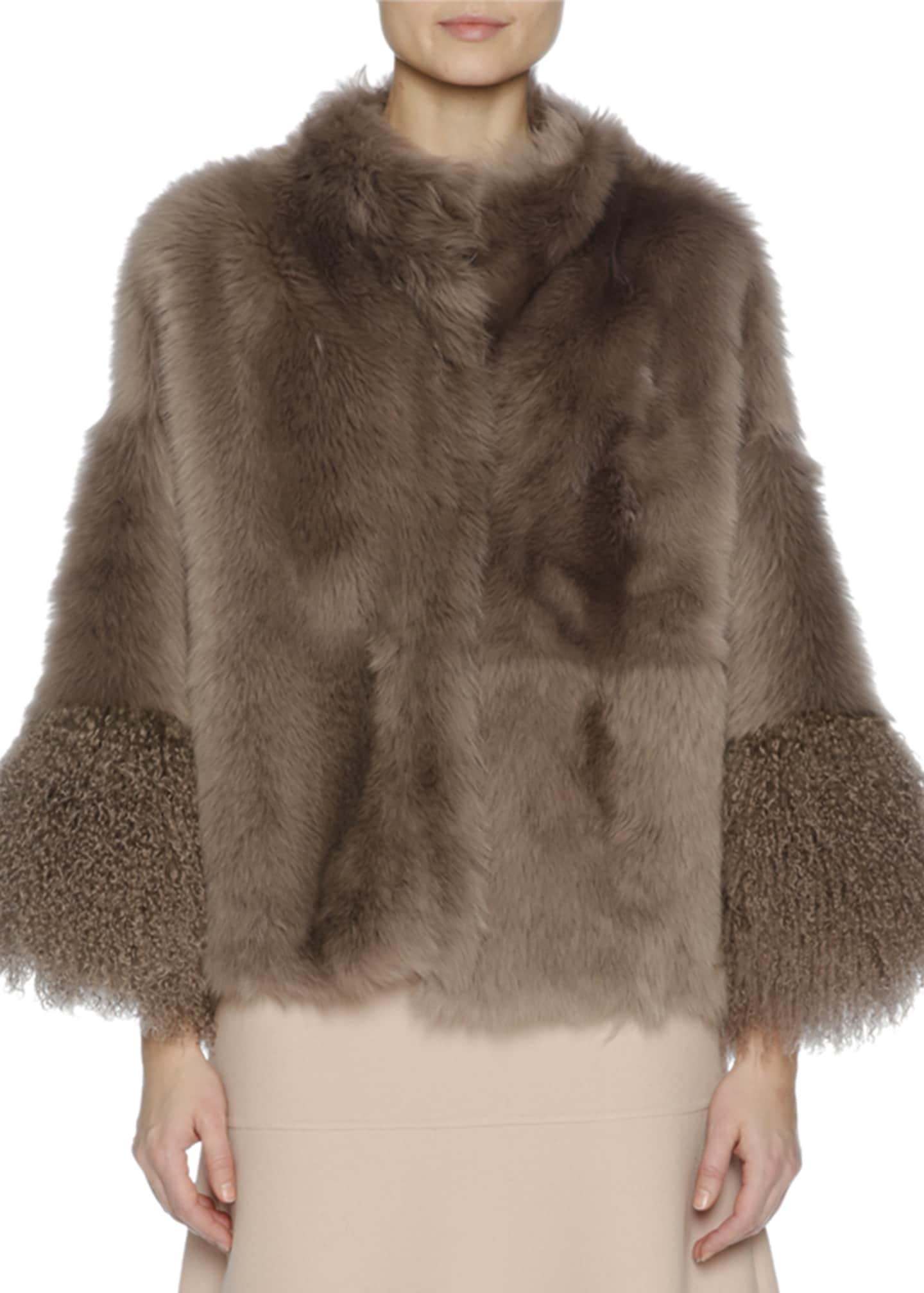 Agnona Easy Shearling Fur Cape, Brown