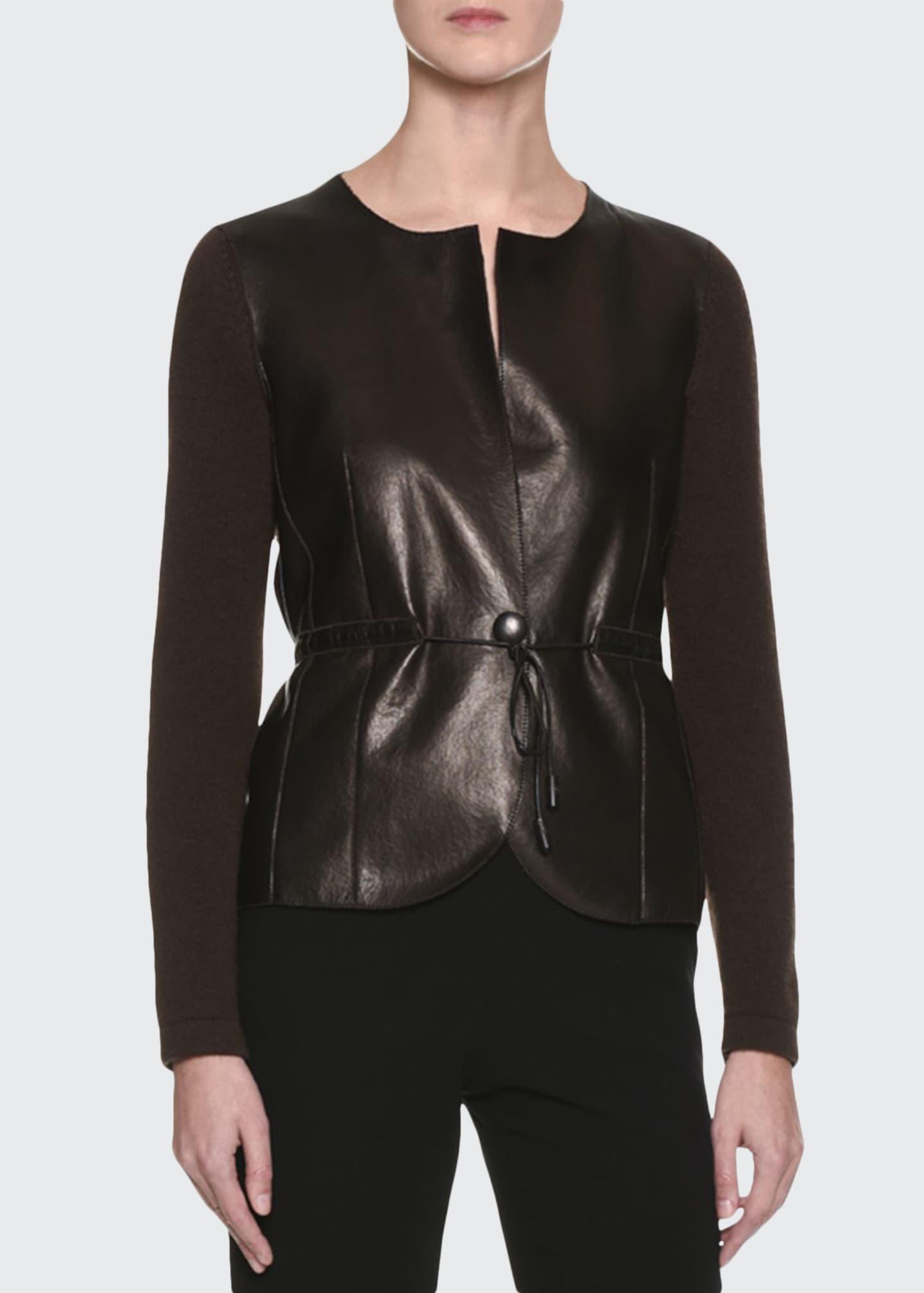 Giorgio Armani Cashmere Sweater w/Leather Front, Brown