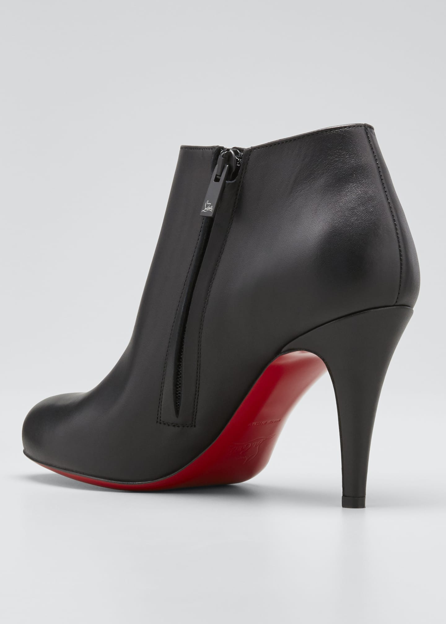 Image 4 of 5: Belle Leather Red-Sole Ankle Boots