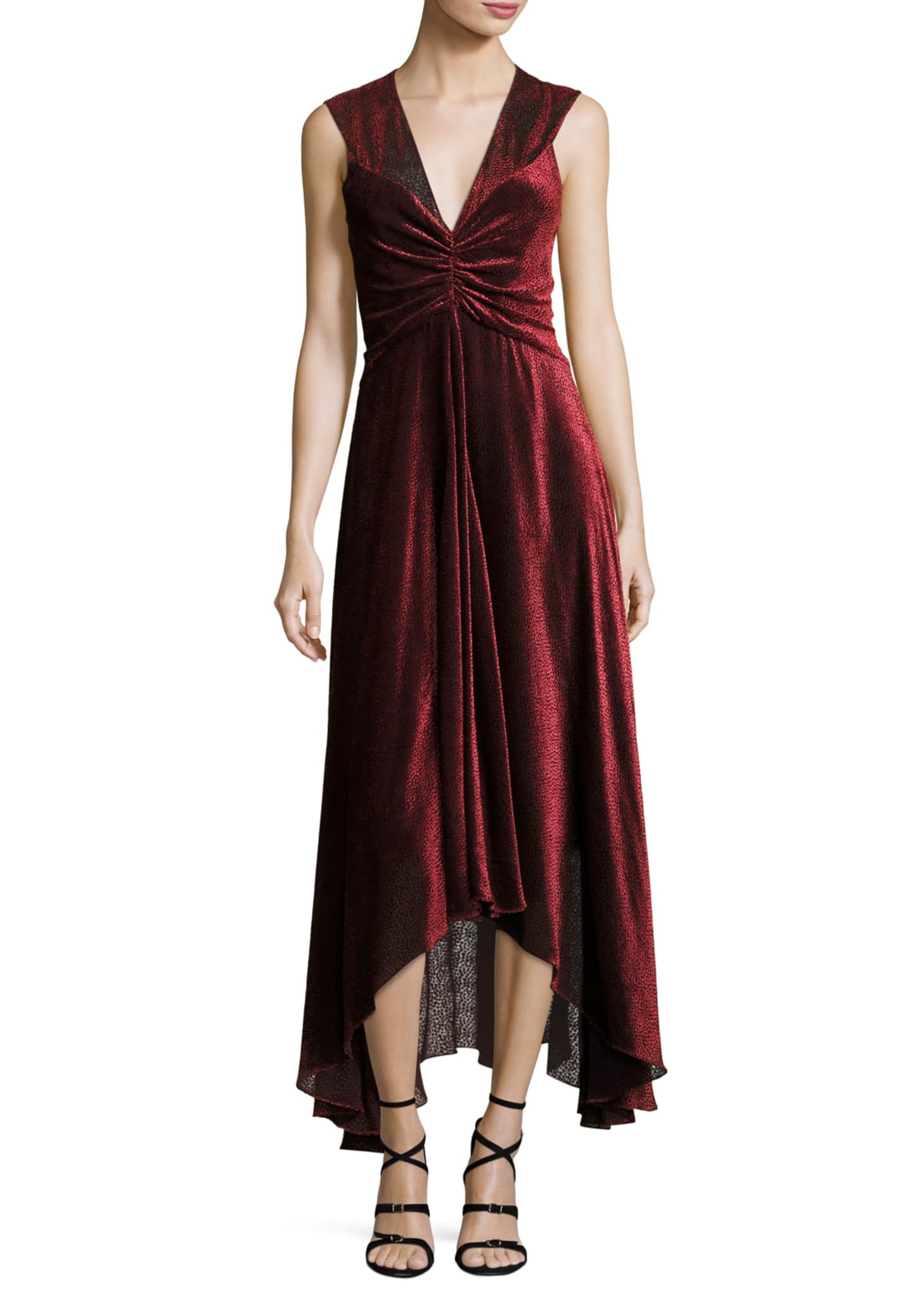 Rosetta Getty Pebbled Burnout Velvet Ruched Dress, Black/Red