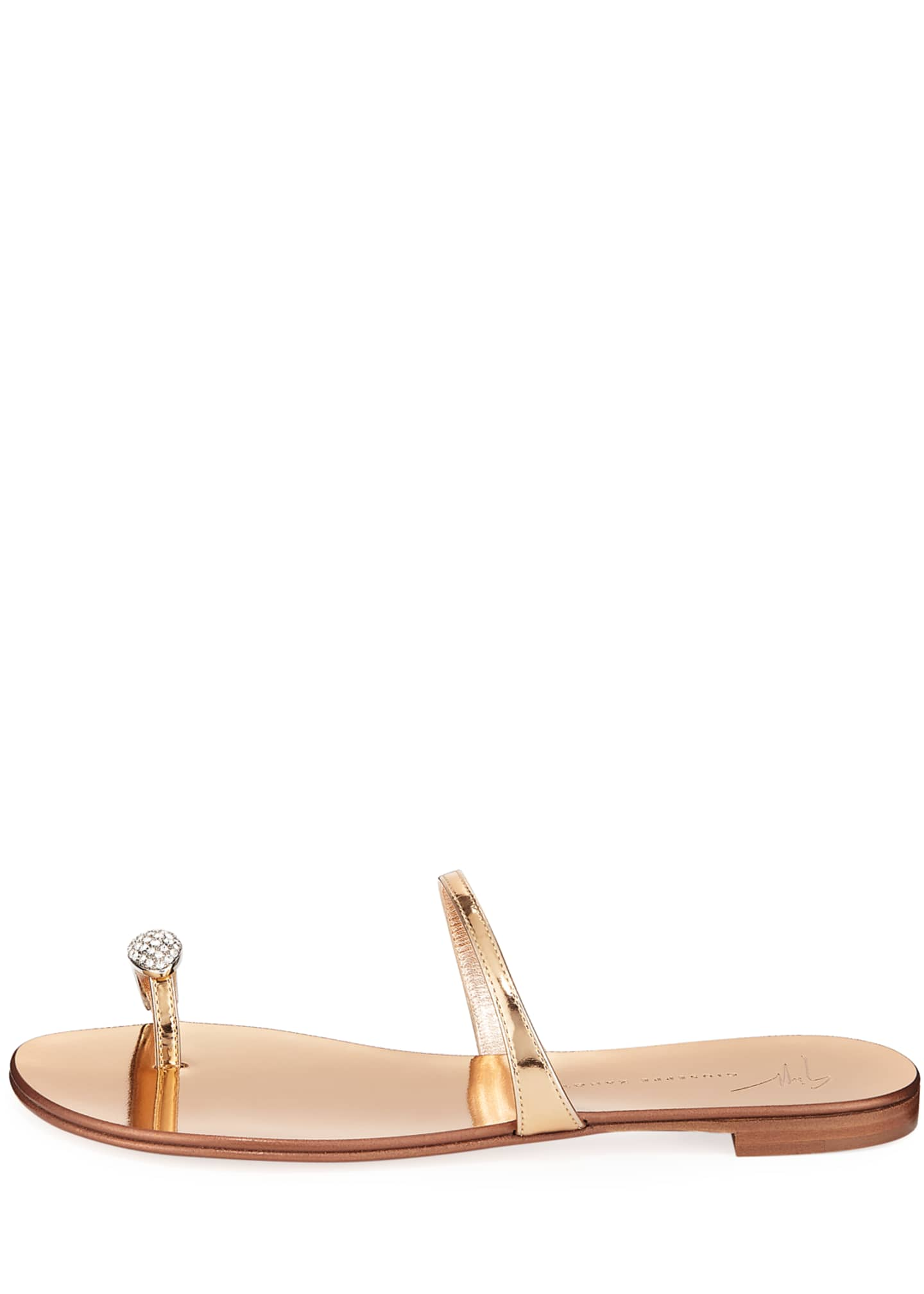 Image 2 of 3: Crystal-Embellished Flat Toe-Ring Sandals