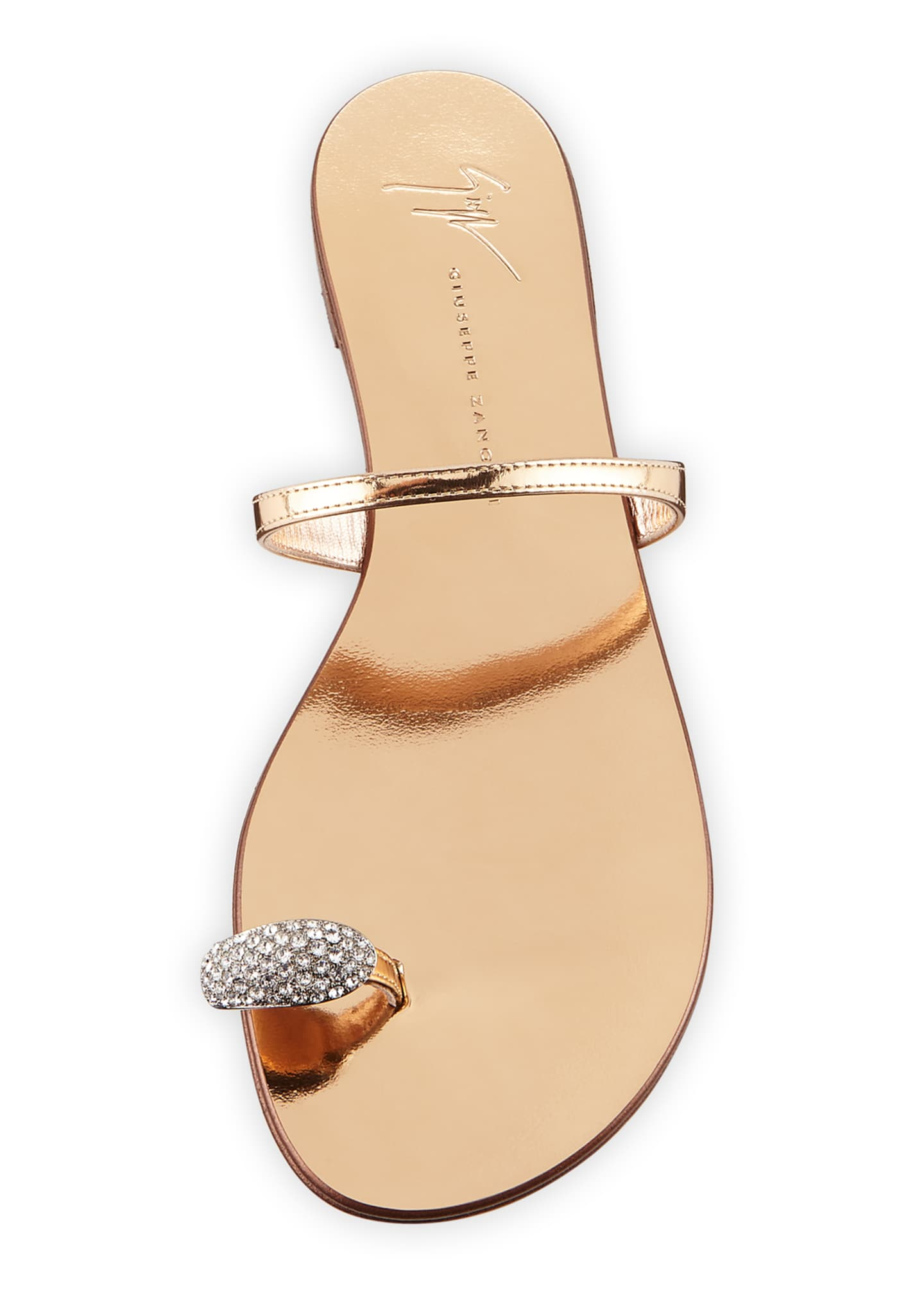 Image 3 of 3: Crystal-Embellished Flat Toe-Ring Sandals