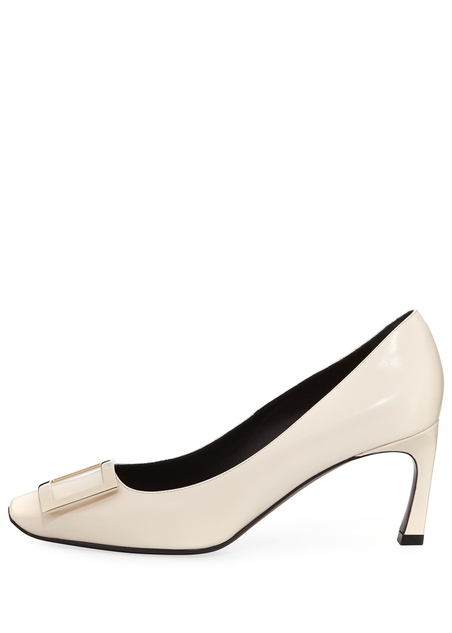 Image 2 of 3: Belle Vivier Trompette Leather 70mm Pumps, Off White