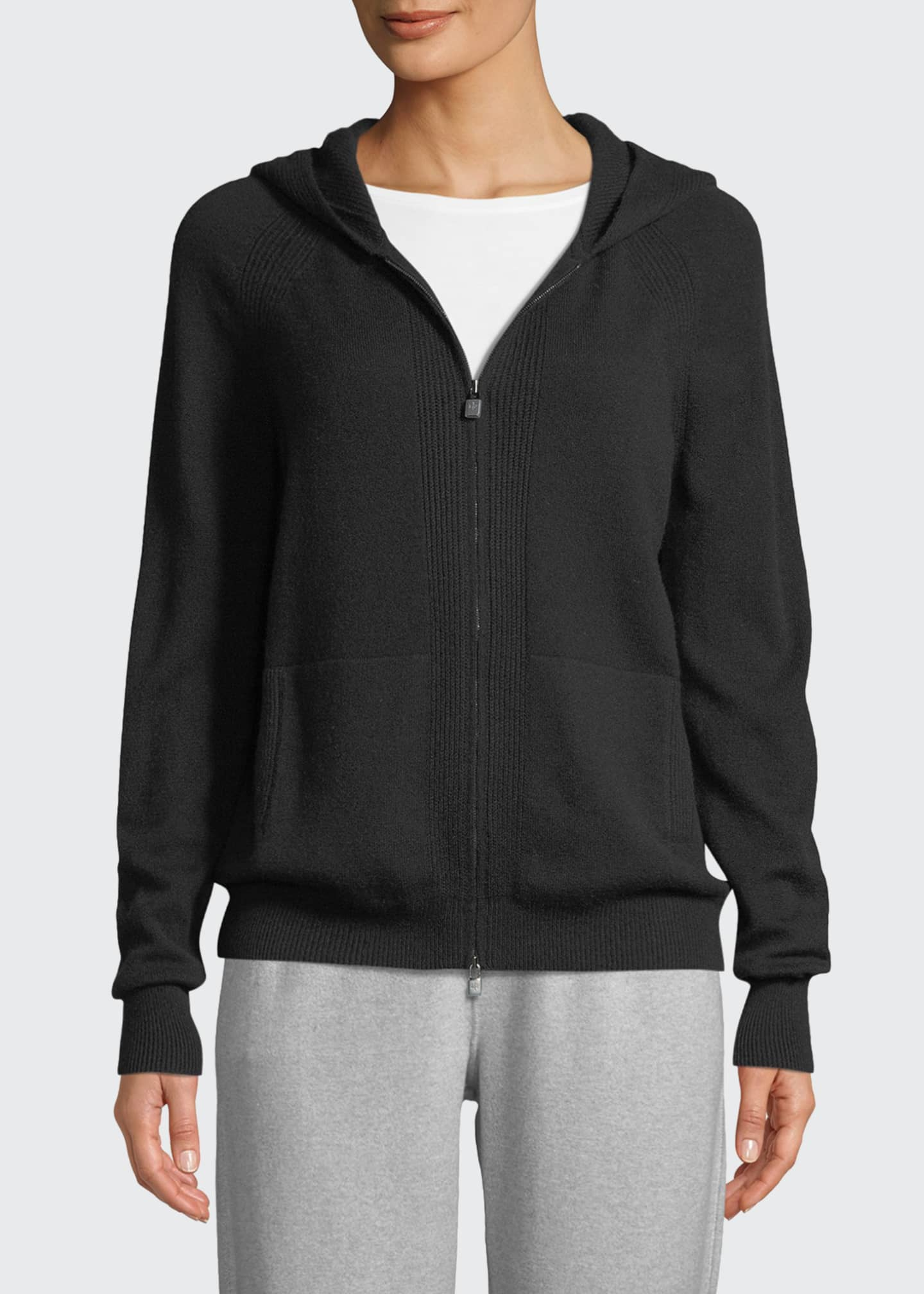 Image 3 of 3: Cashmere Zip Hoodie Sweater