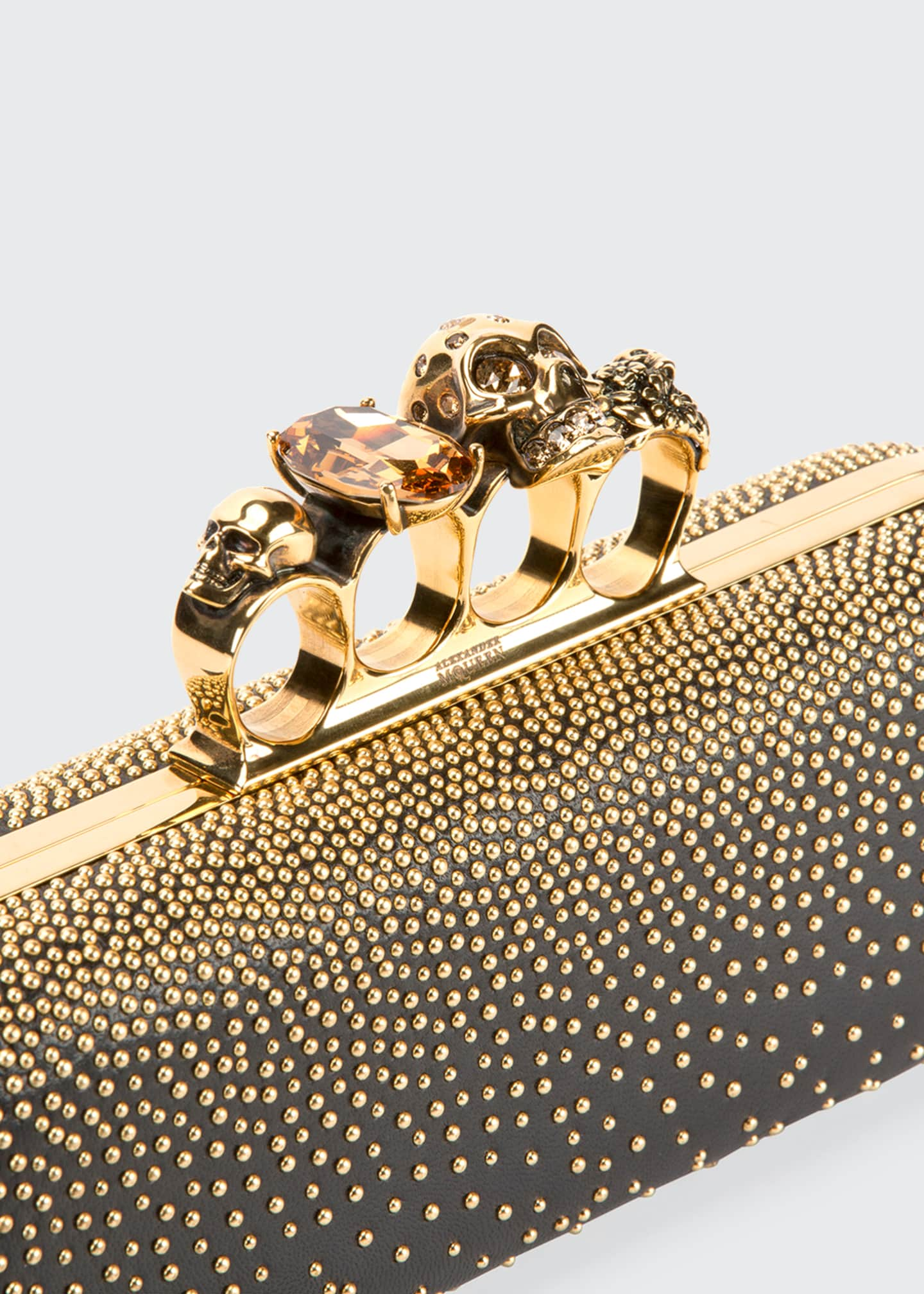Image 5 of 5: Studded Four Ring Clutch Bag