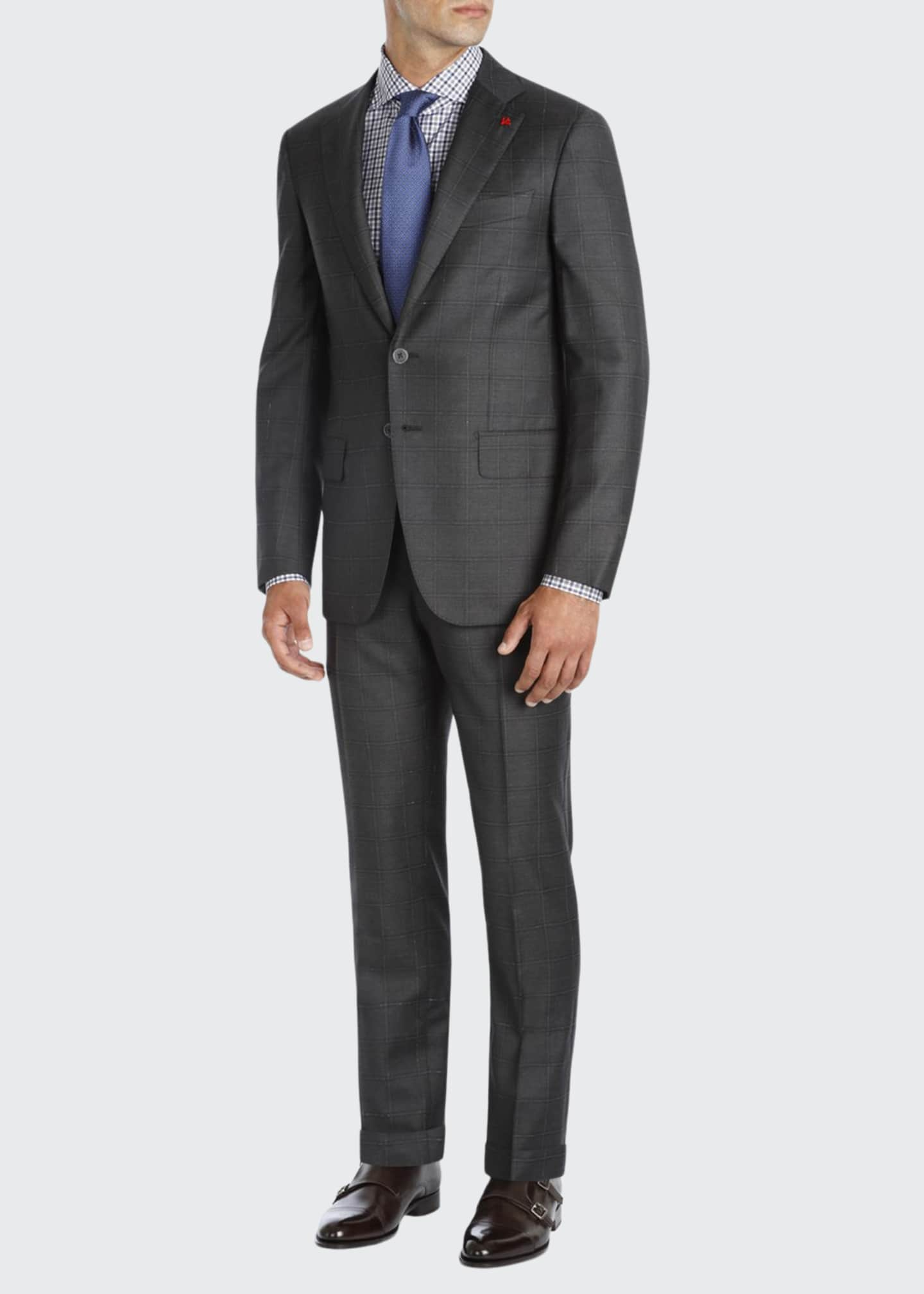 Isaia Windowpane Super 140s Wool Two-Piece Suit, Charcoal