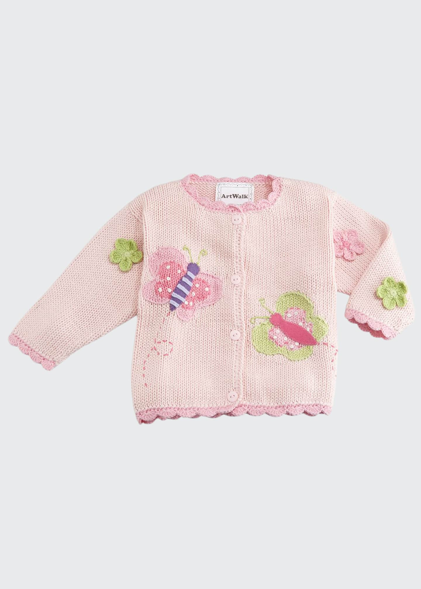 Art Walk Butterflies Cotton Button-Front Sweater, Pink, Size
