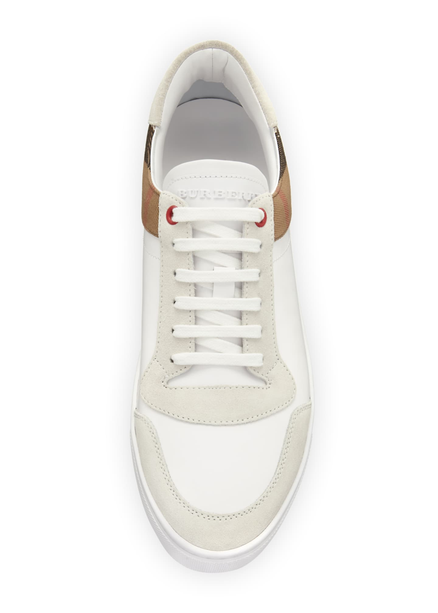 Image 2 of 3: Men's Reeth Leather & House Check Low-Top Sneakers, White