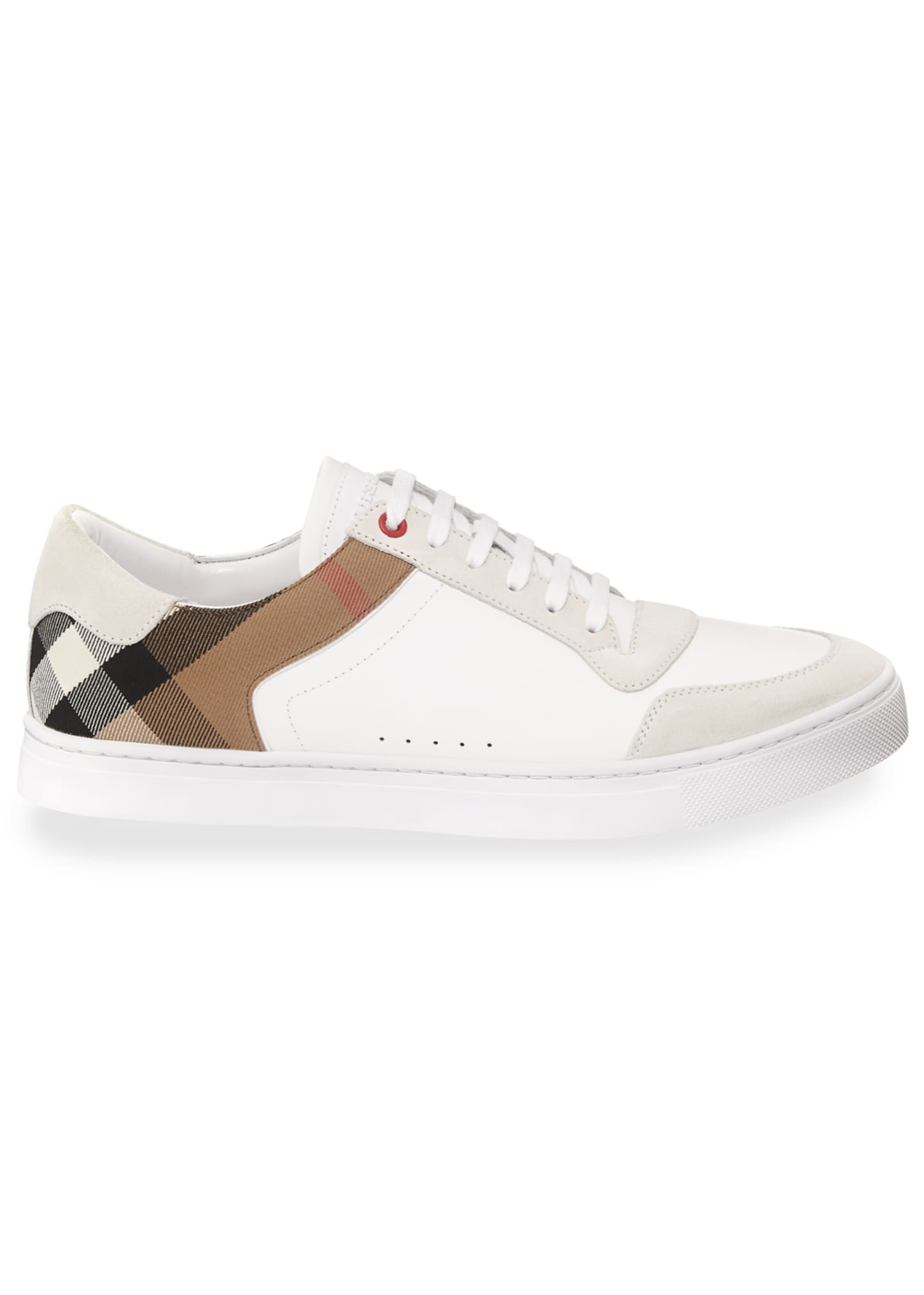 Image 3 of 3: Men's Reeth Leather & House Check Low-Top Sneakers, White