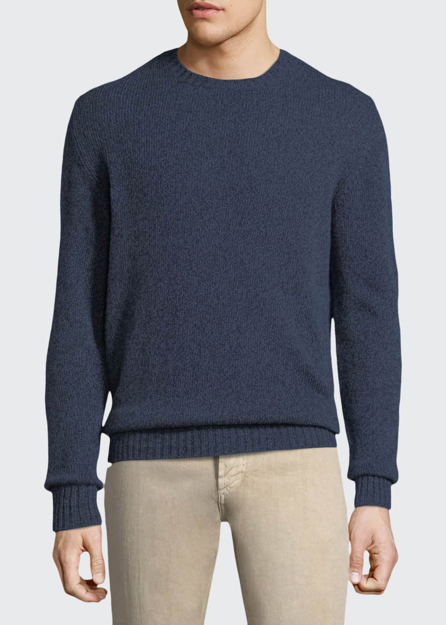 Image 1 of 2: Men's Light Baby Cashmere Crewneck Sweater