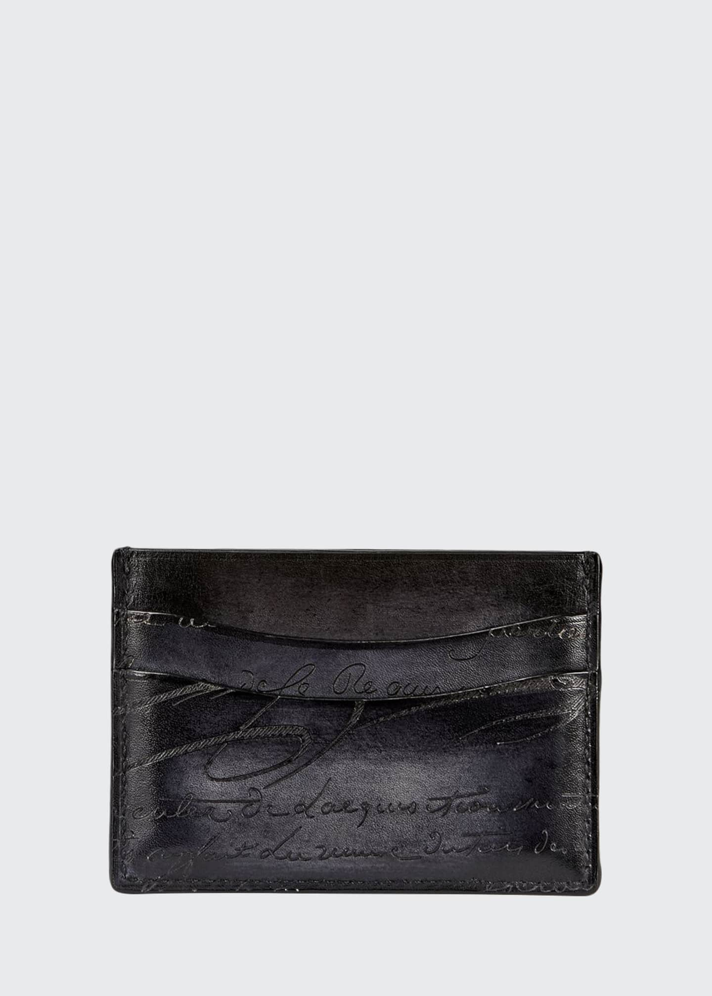 Berluti Bambou Scritto Leather Card Case, Nero