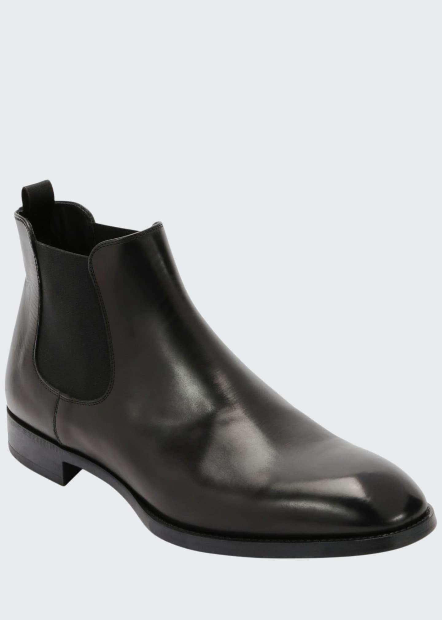 Giorgio Armani Gored Leather Chelsea Boot w/ Rubber