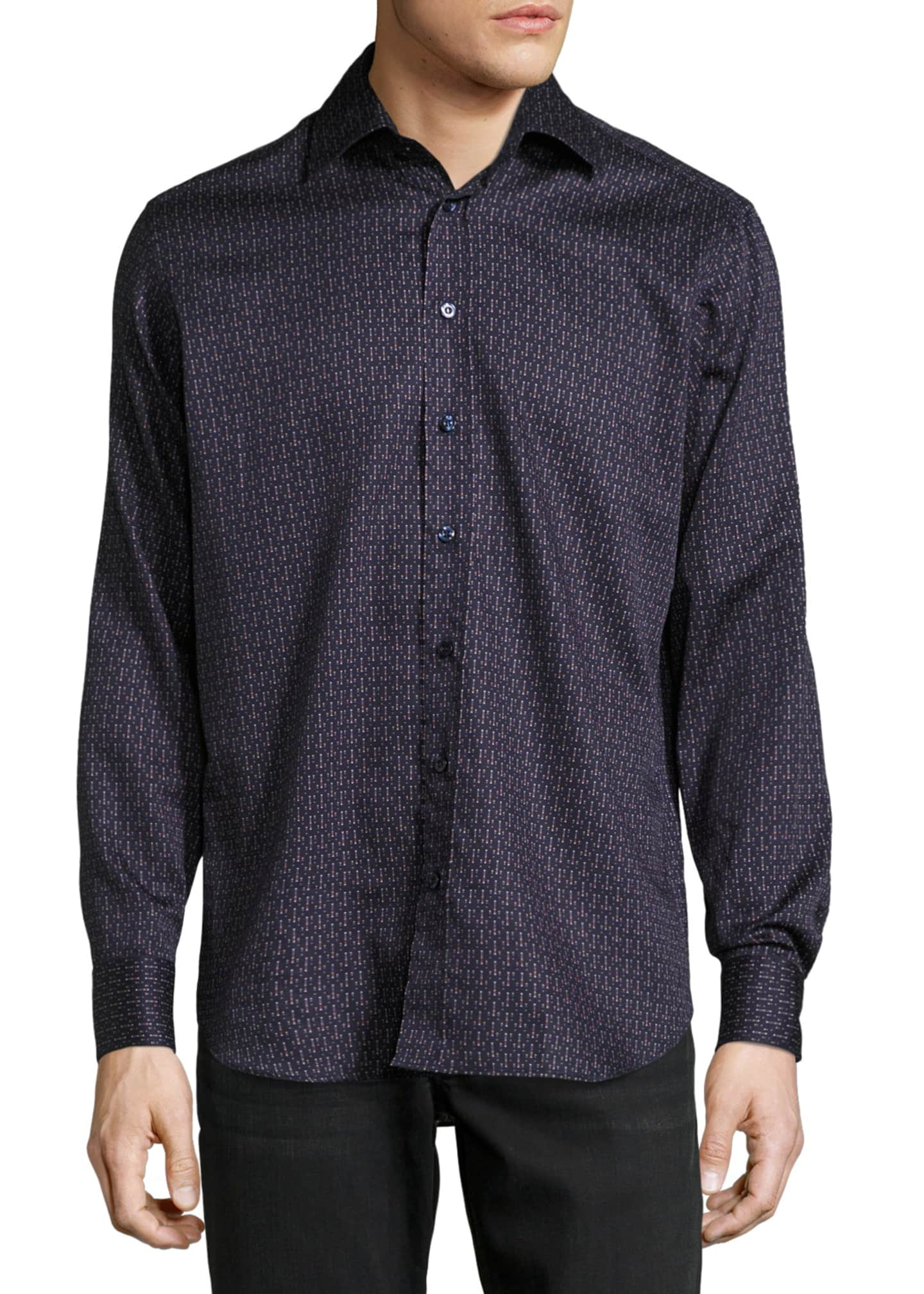 Etro Lined-Dot Cotton Shirt, Navy