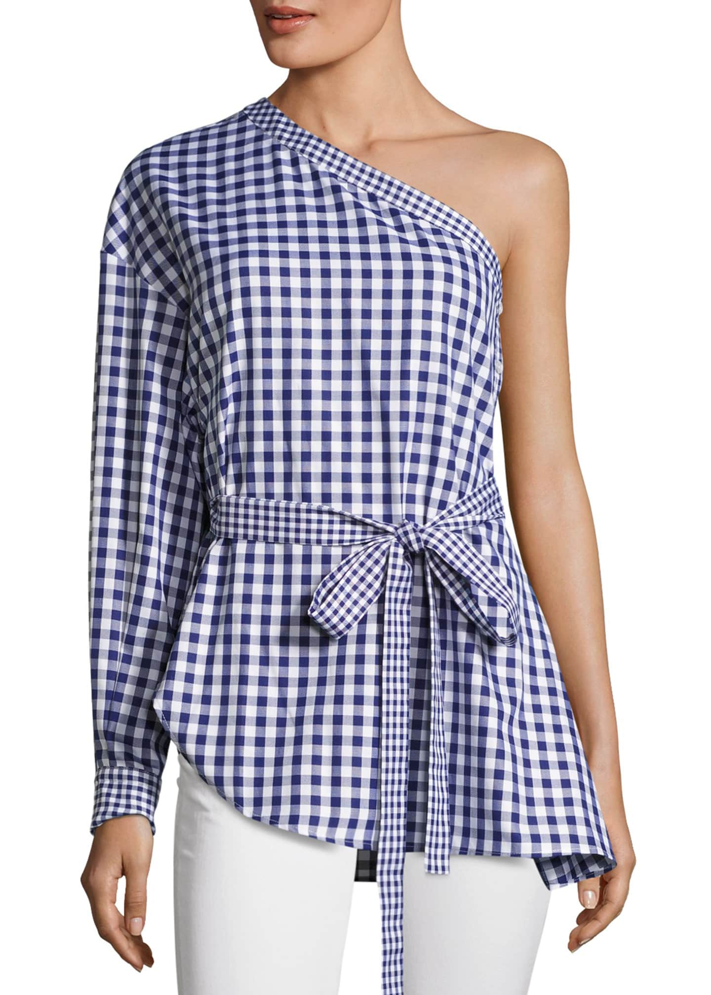Rosetta Getty Gingham One-Shoulder Cotton Blouse, Blue/White