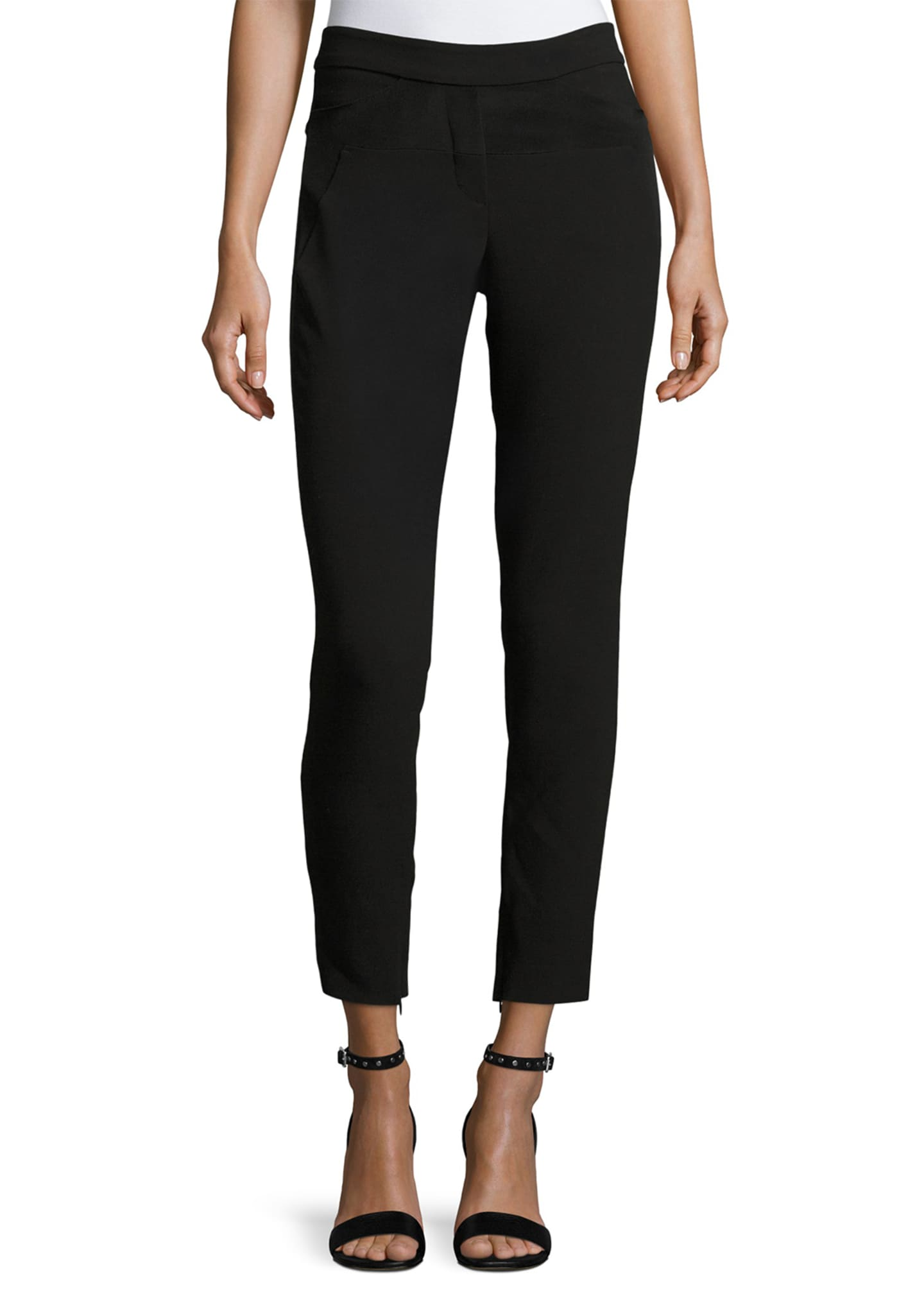 Halston Heritage Slim-Fit Ankle Pants w/ Paneled Waist