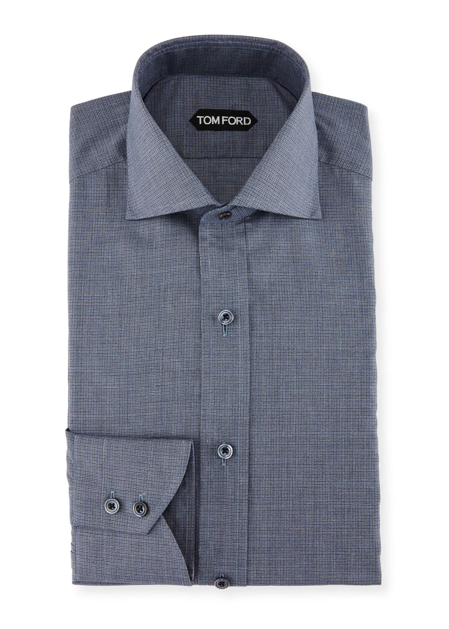 Image 1 of 2: Slim-Fit Tonal Check Dress Shirt