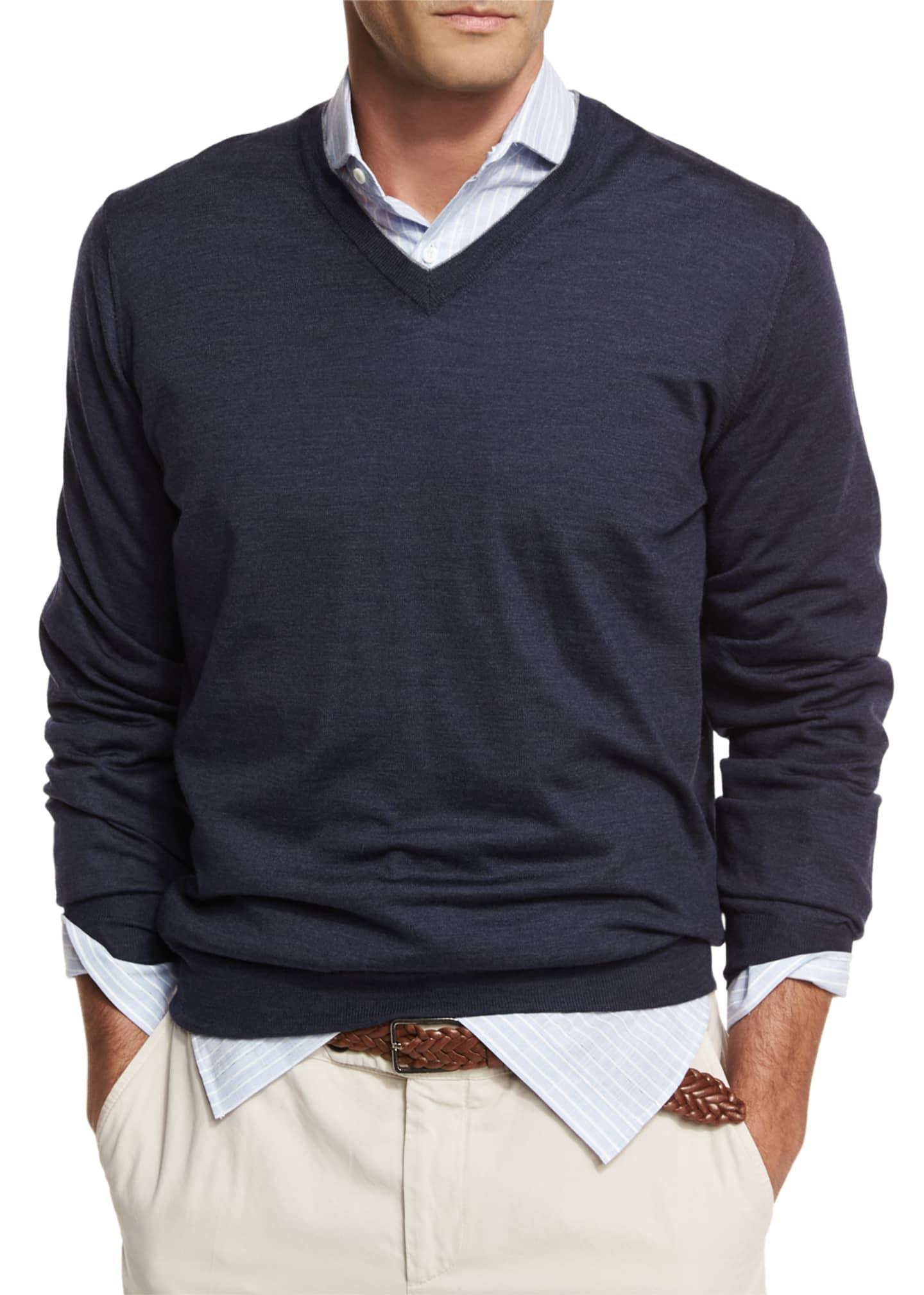 Brunello Cucinelli Fine-Gauge Tipped V-Neck Sweater