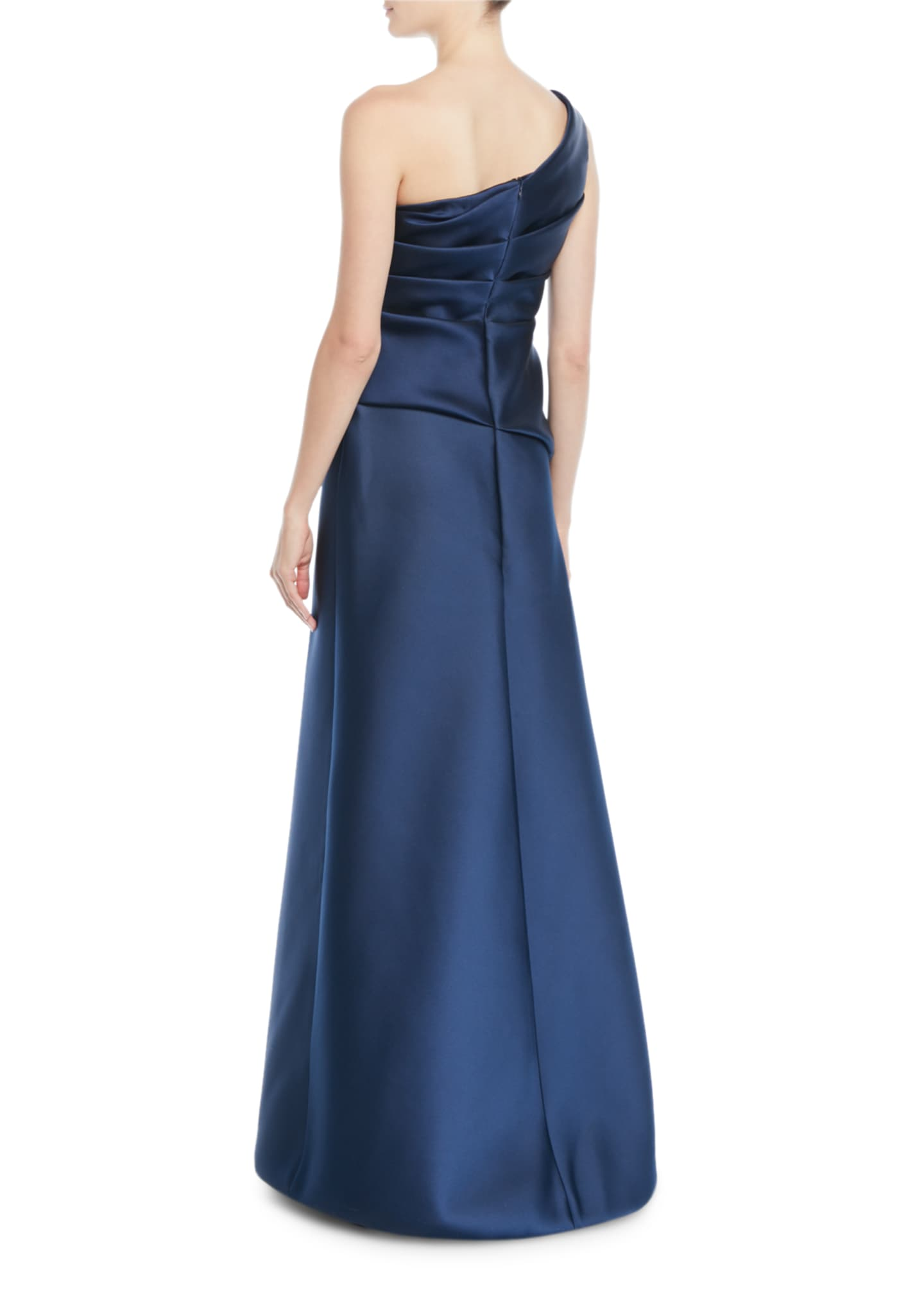 Image 2 of 2: One-Shoulder Sleeveless Gathered Duchess Satin Evening Gown
