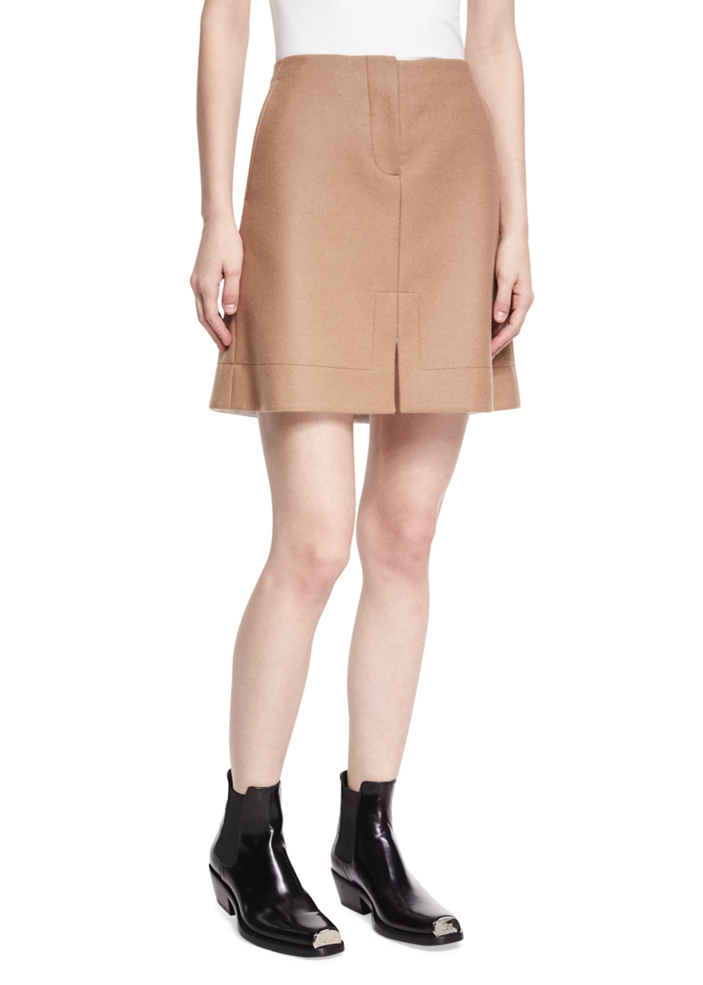 CALVIN KLEIN 205W39NYC Notched Wool Mini Skirt