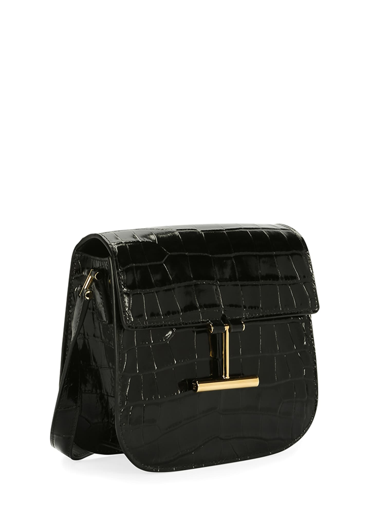 Image 2 of 3: Tara Small T Clasp Alligator Shoulder Bag