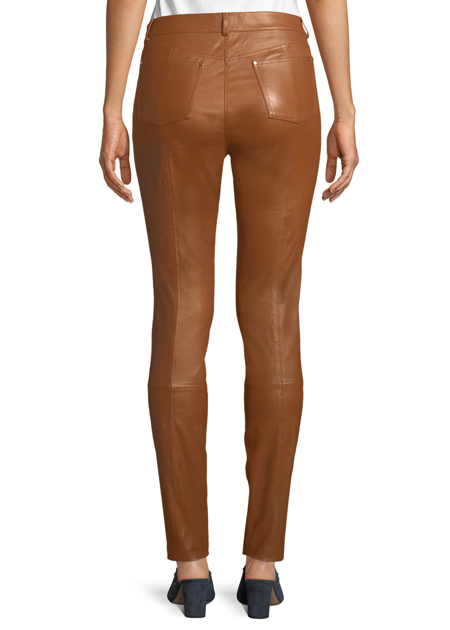 Image 2 of 3: Mercer Mid-Rise Leather Skinny Jeans