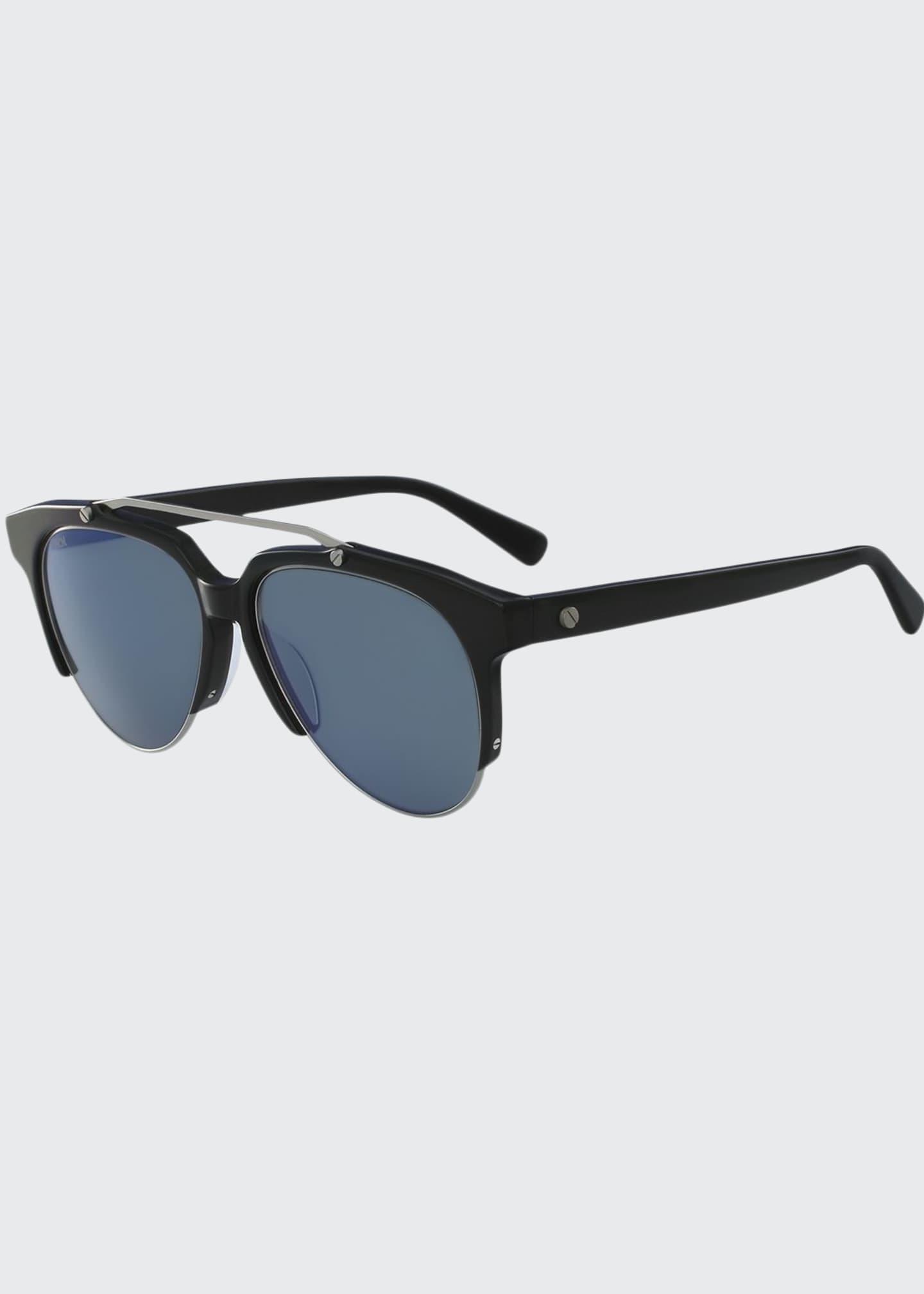 MCM Acetate & Metal Aviator Sunglasses, Black