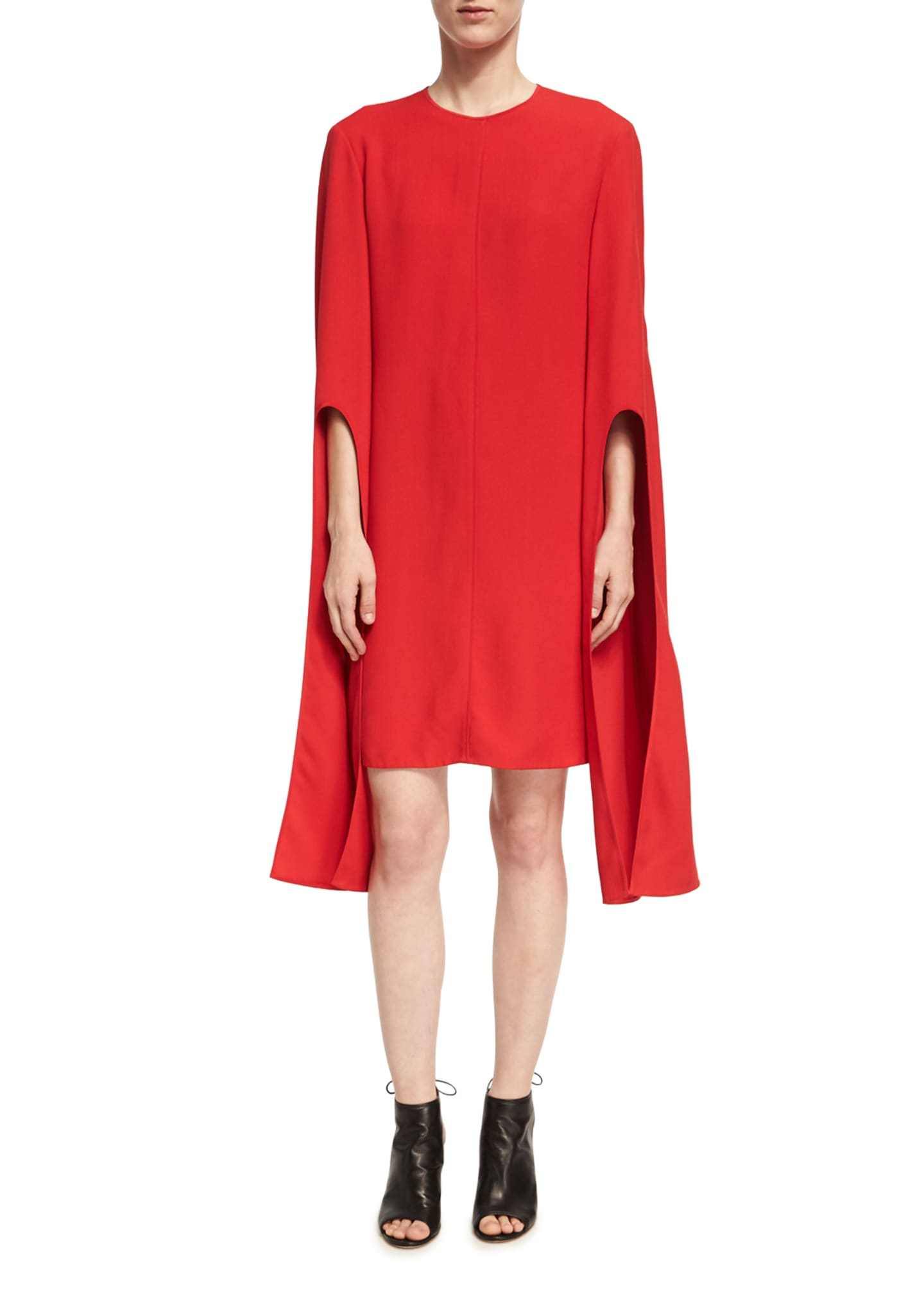 Narciso Rodriguez Cape-Sleeve Viscose Shift Dress, Red