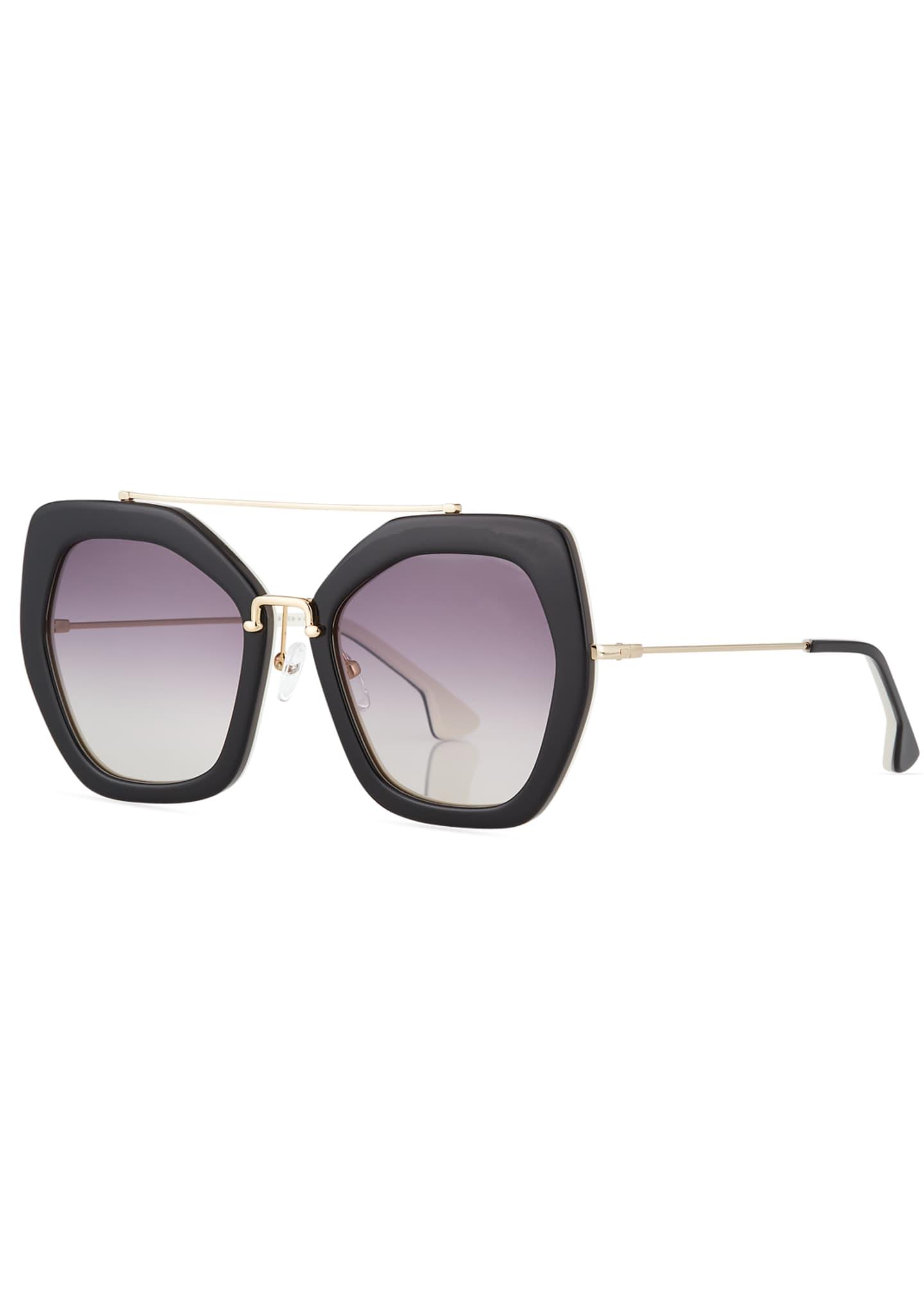 Alice + Olivia Bowery Square Sunglasses, Black