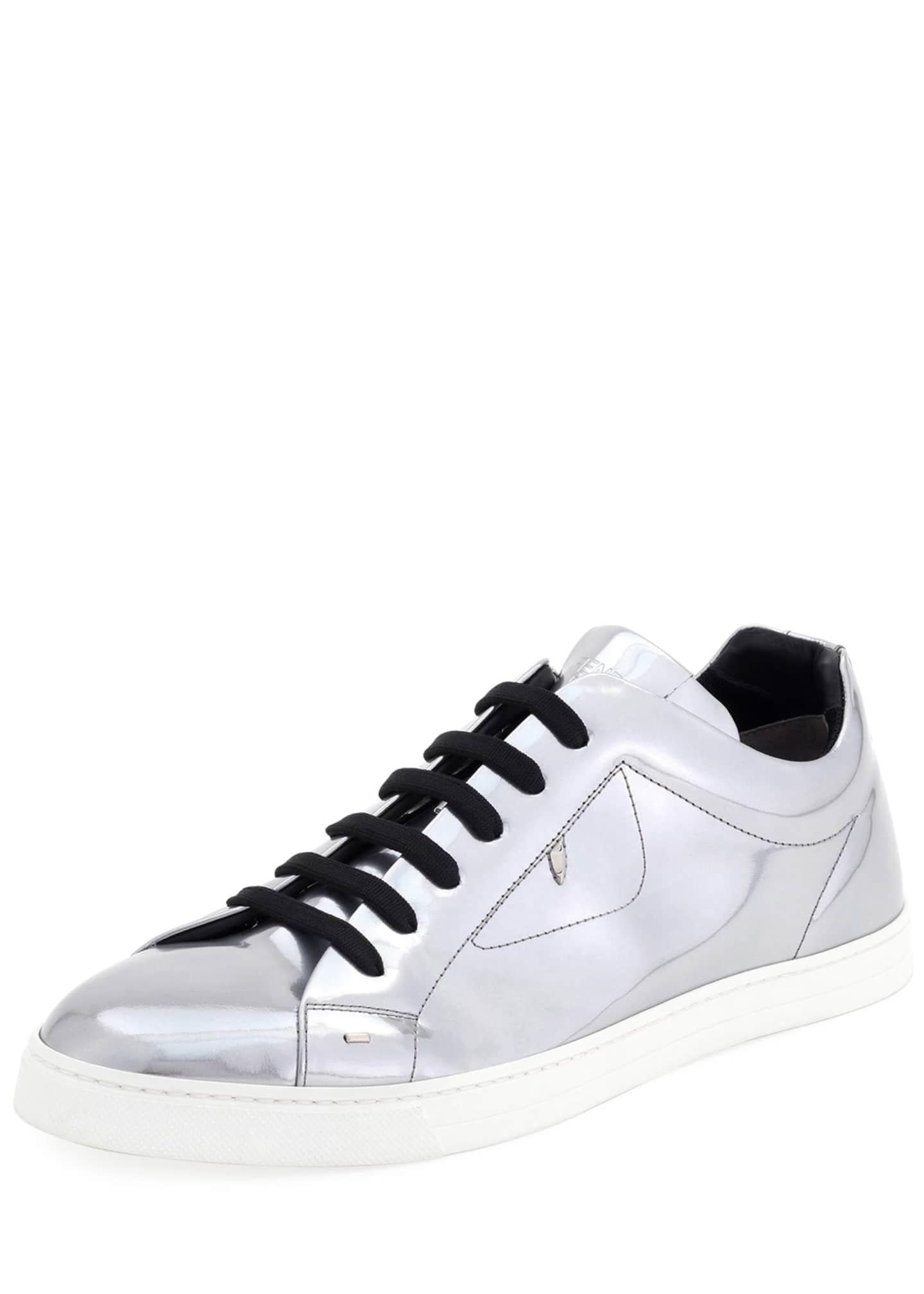 Fendi Men's Bag Bugs Metallic Leather Low-Top Sneakers,