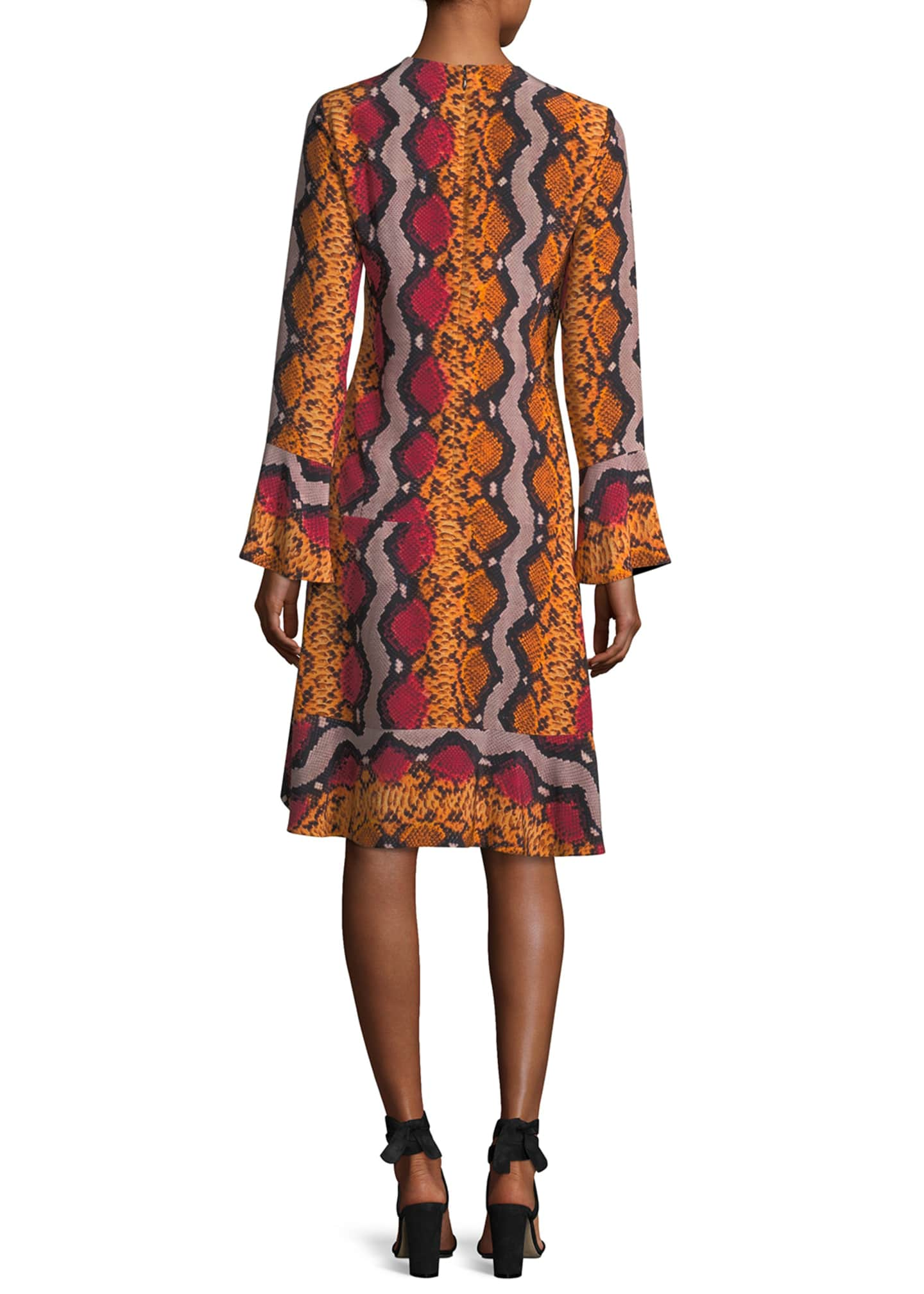 Image 2 of 2: Long-Sleeve Snake-Print Silk Dress
