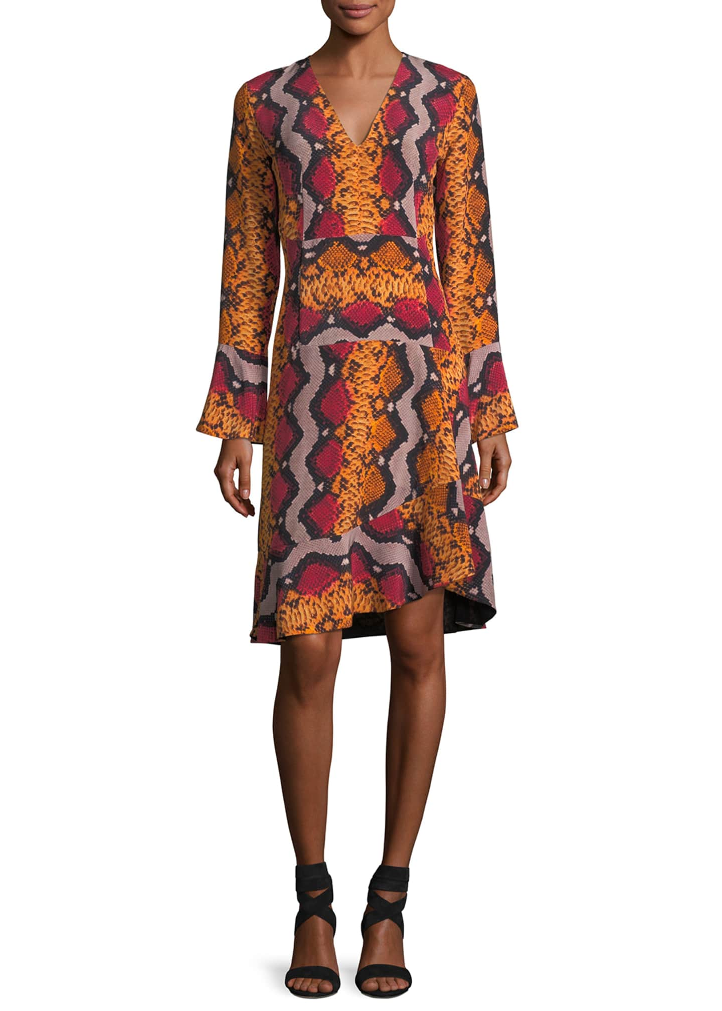 Image 1 of 2: Long-Sleeve Snake-Print Silk Dress