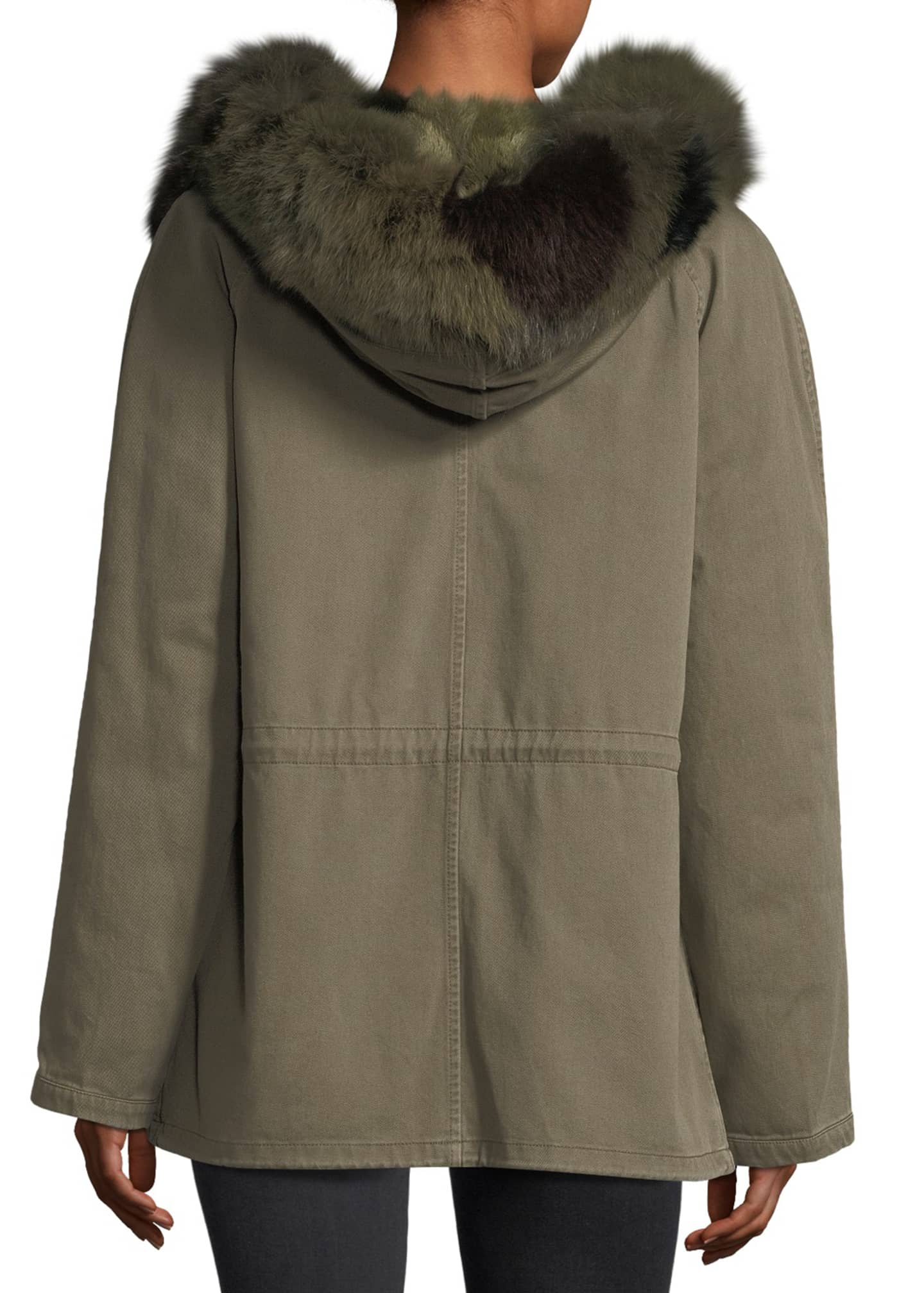Image 2 of 3: Fur-Trim Canvas Coat