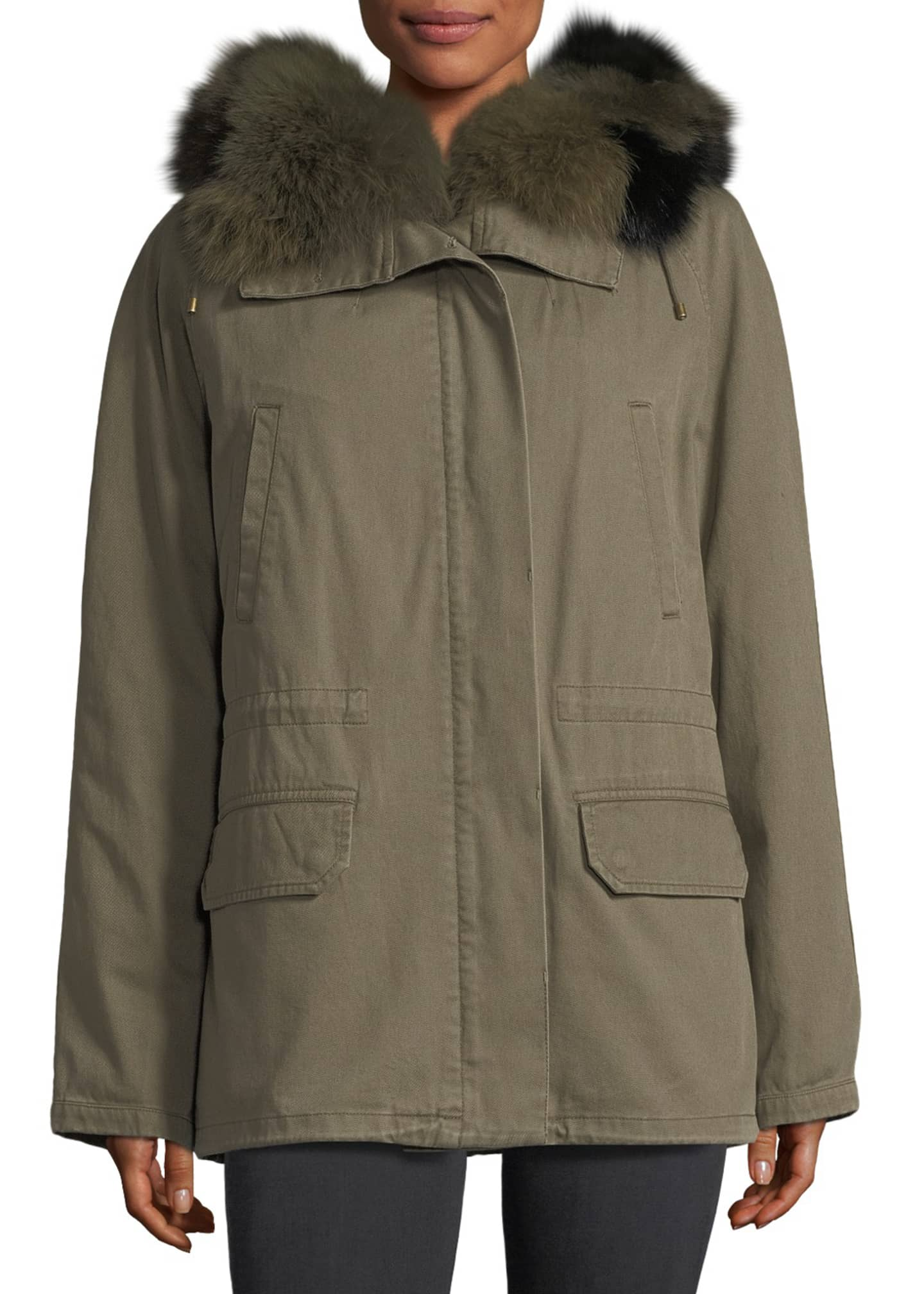 Image 1 of 3: Fur-Trim Canvas Coat