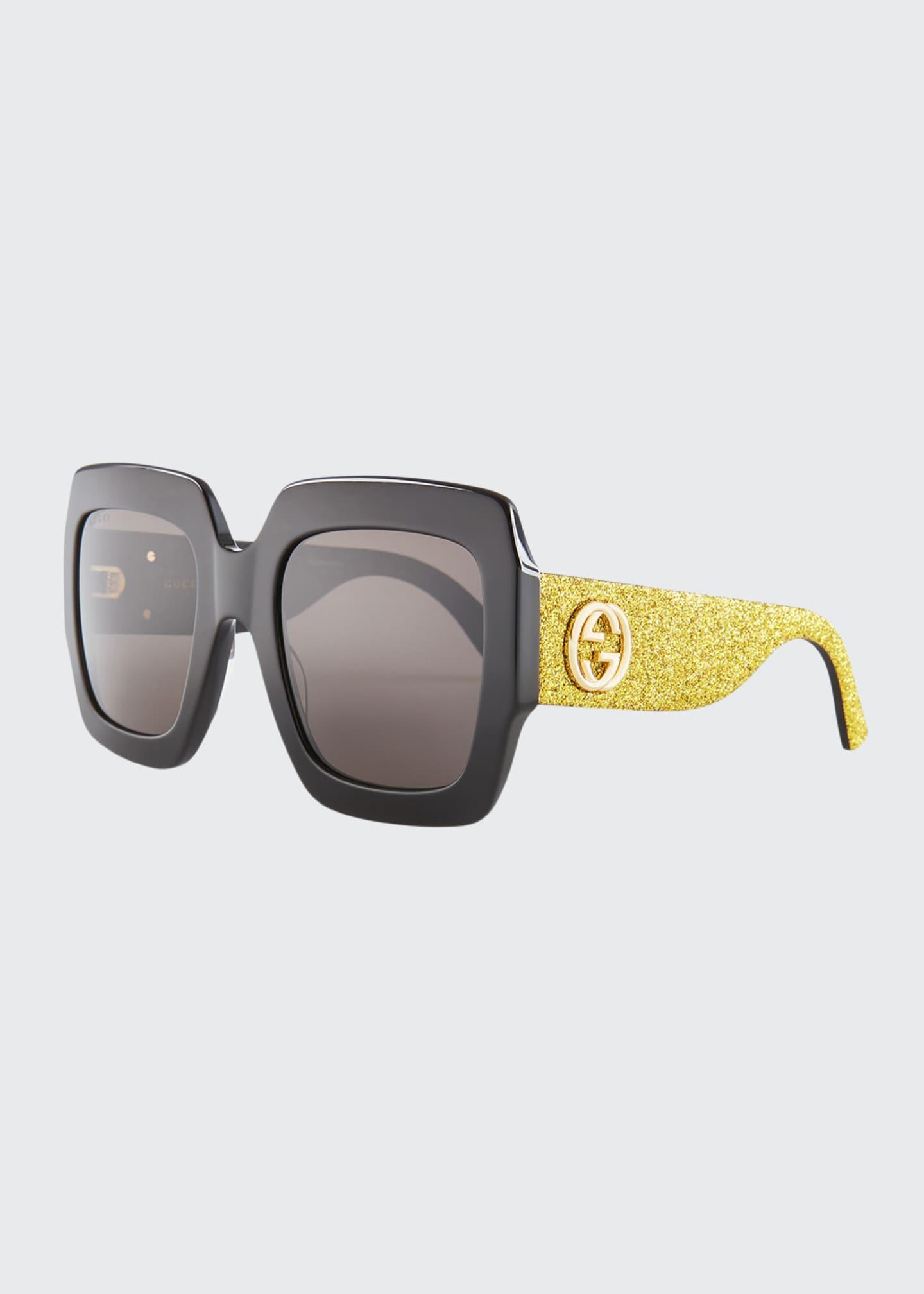 Gucci Glittered Square GG Sunglasses