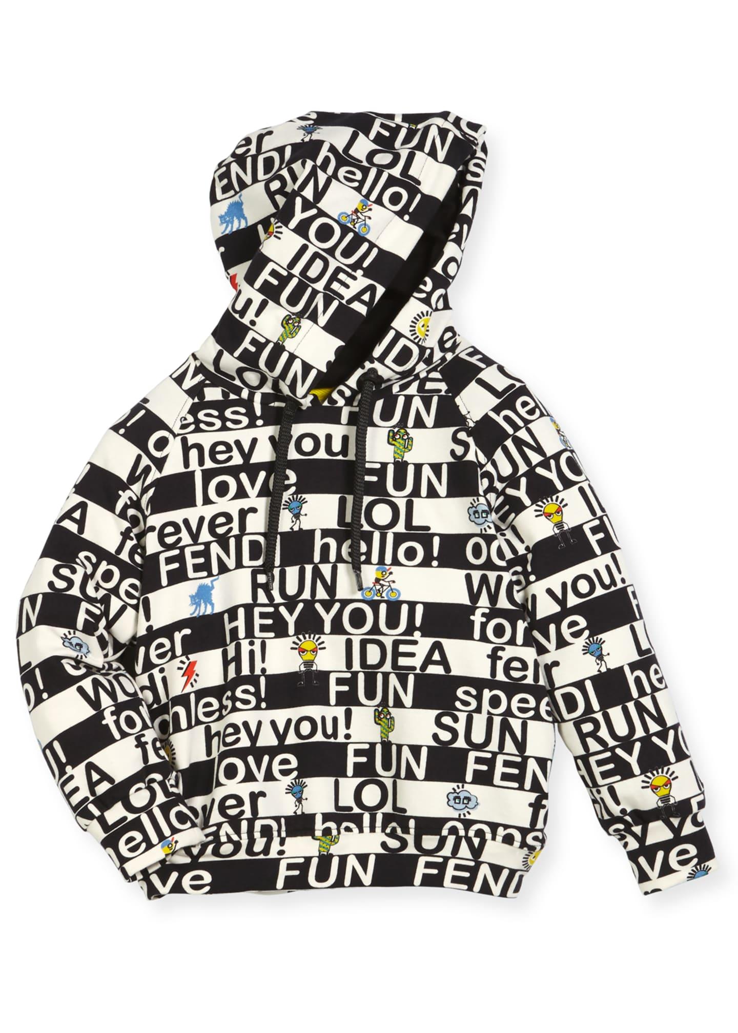 Fendi Boys' Allover Words Graphic Hooded Sweatshirt, Size