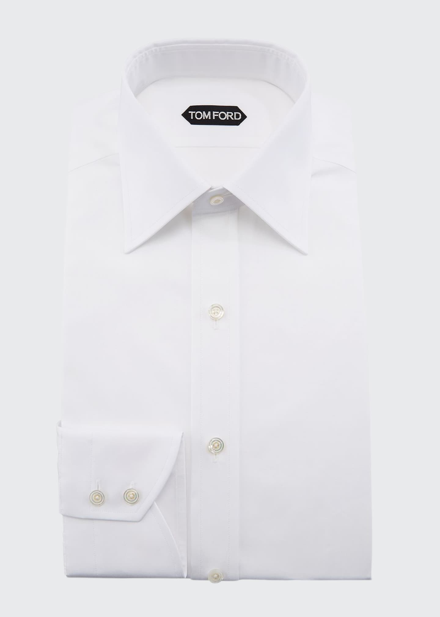 Image 1 of 2: Solid Barrel-Cuff Dress Shirt, White