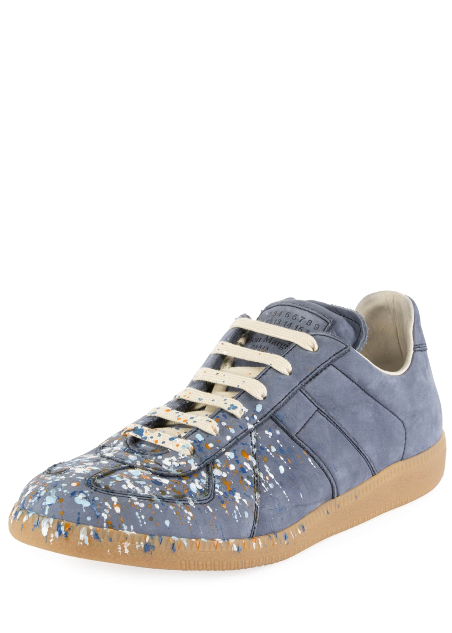 Maison Margiela Men's Replica Paint-Splatter Suede Low-Top