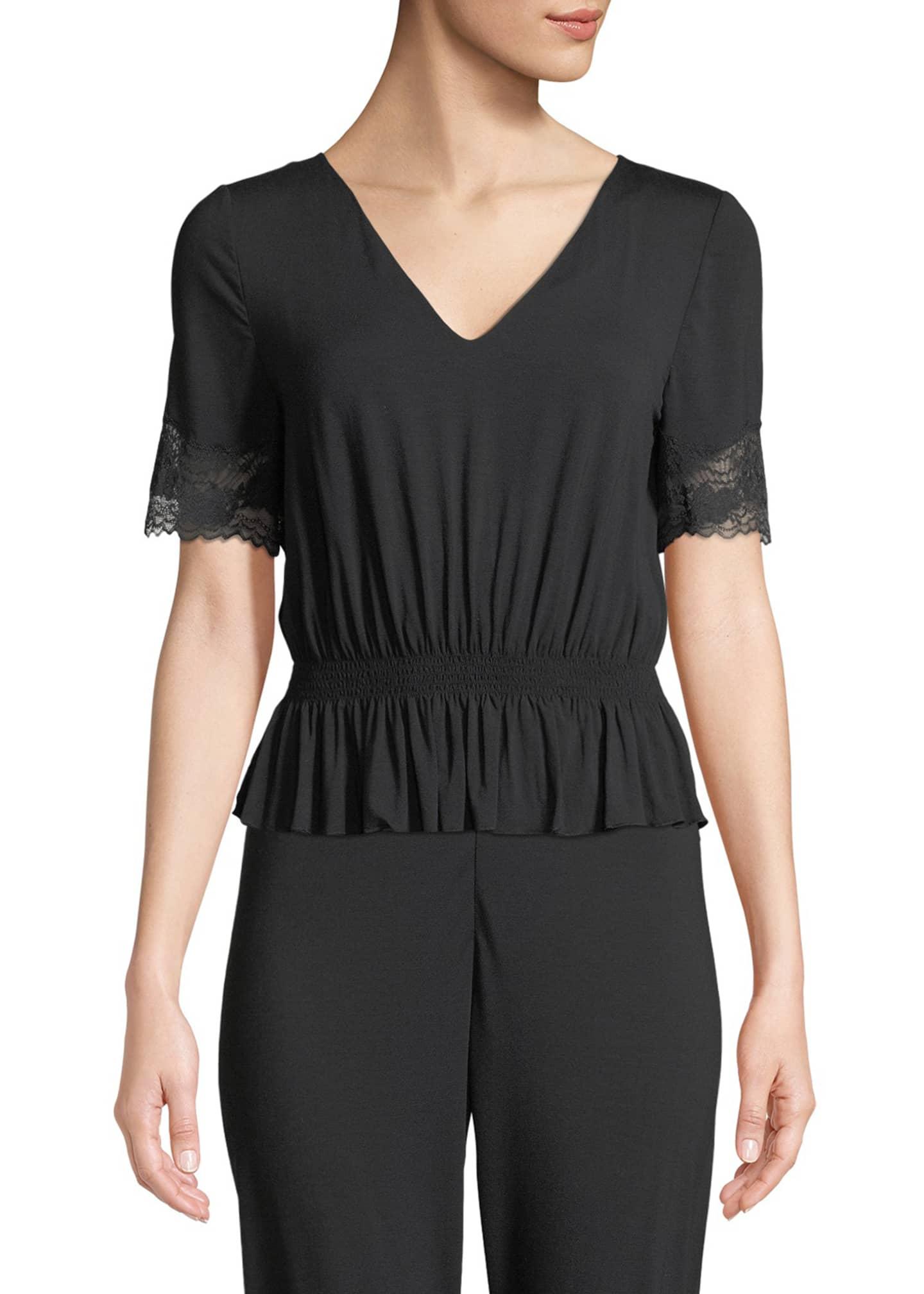 La Perla Lapis Lace-Trim Lounge Shirt