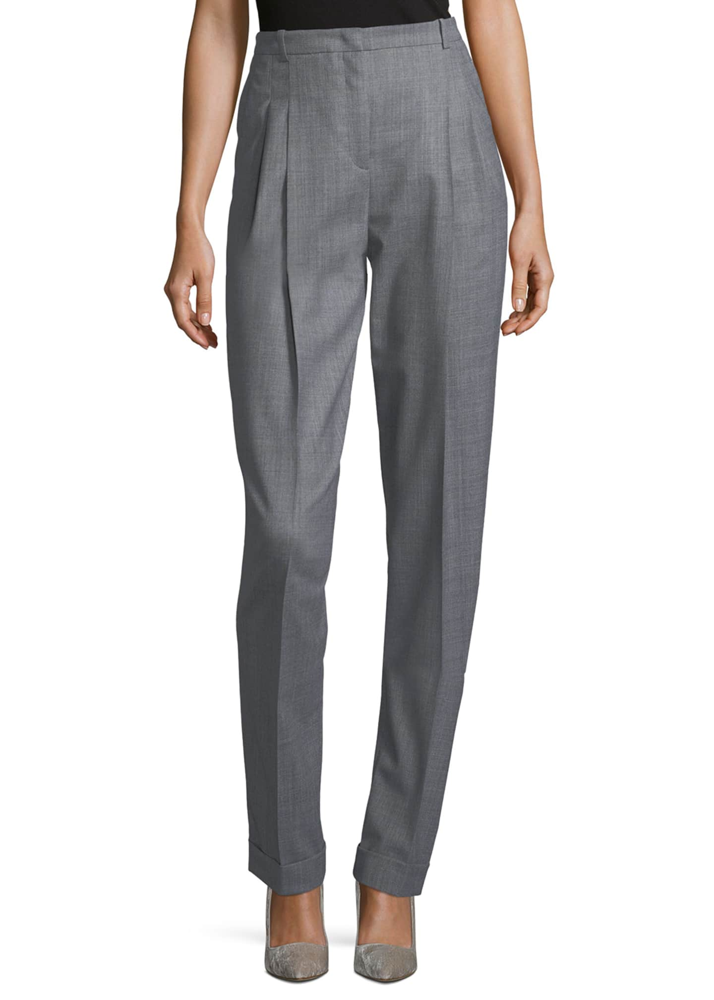 Michael Kors Collection Cuffed Pleat-Front Trousers