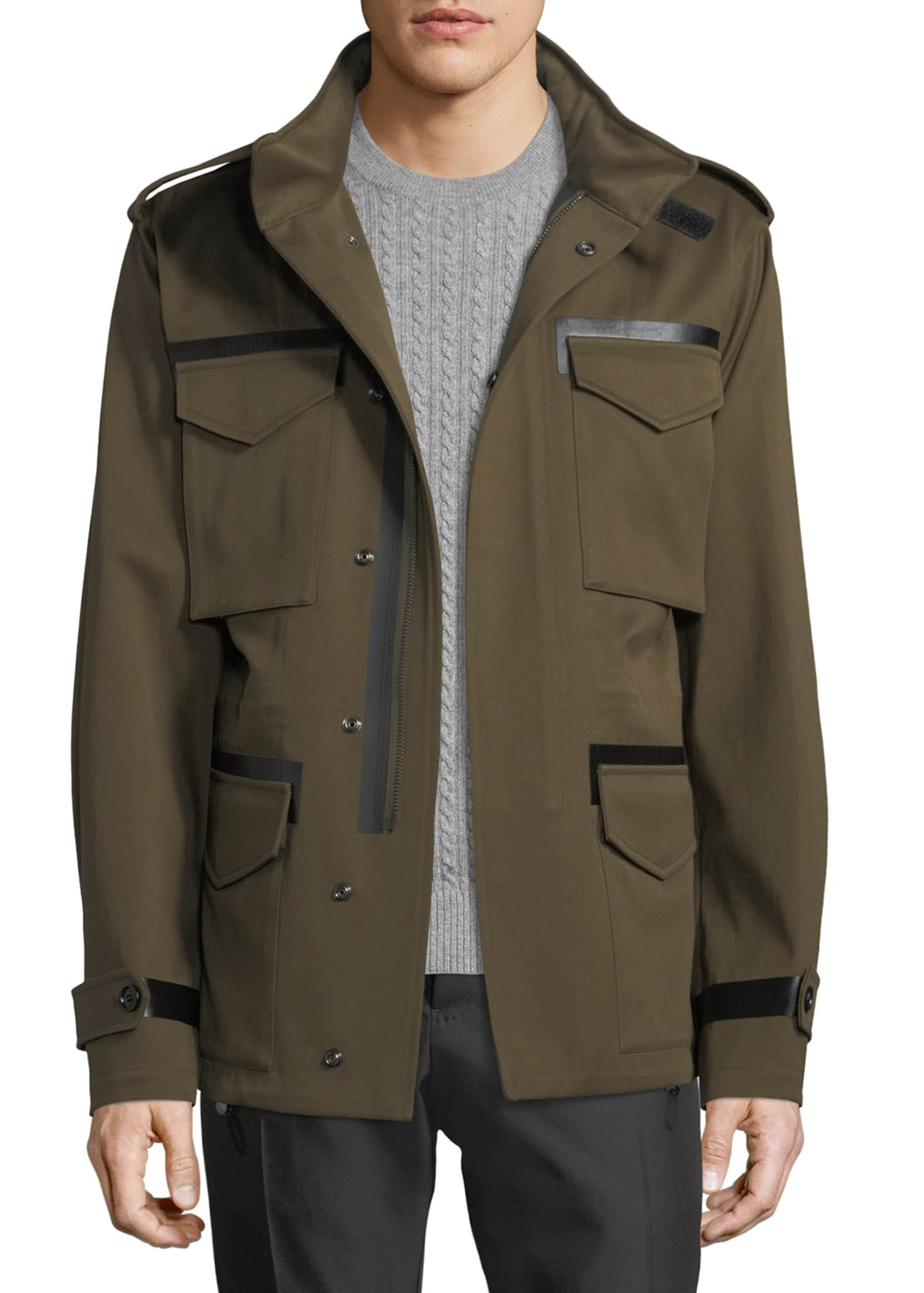 Berluti Leather-Trim Field Jacket