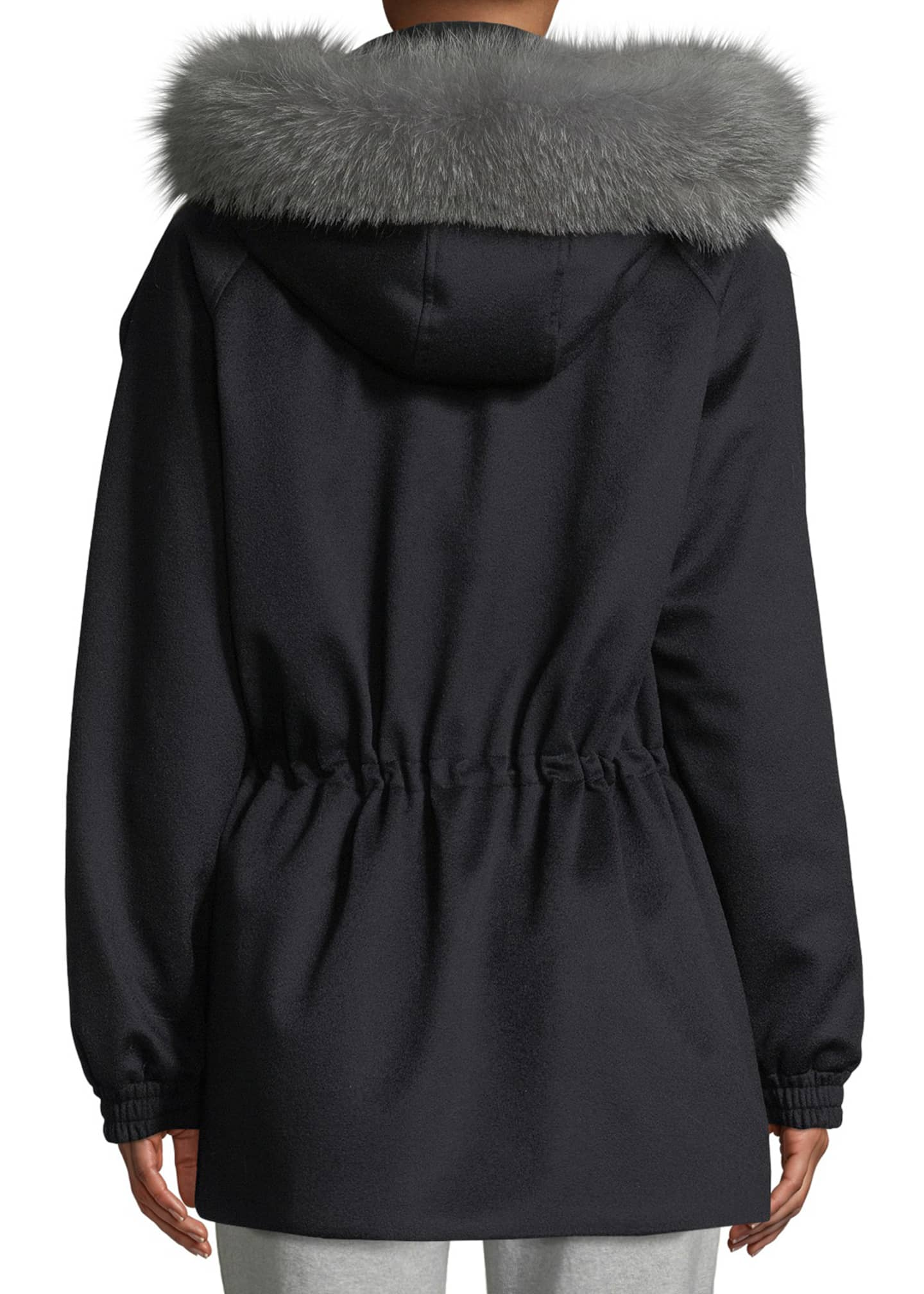 Image 2 of 3: Cashmere Fox-Fur Hooded Parka Coat