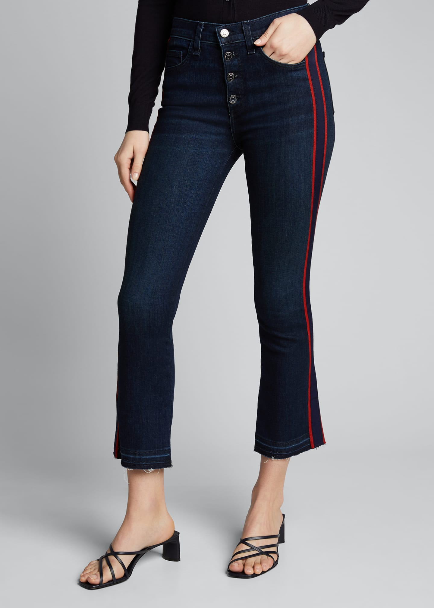 Image 3 of 5: Carolyn Baby Boot Cropped Jeans w/ Tux Stripes