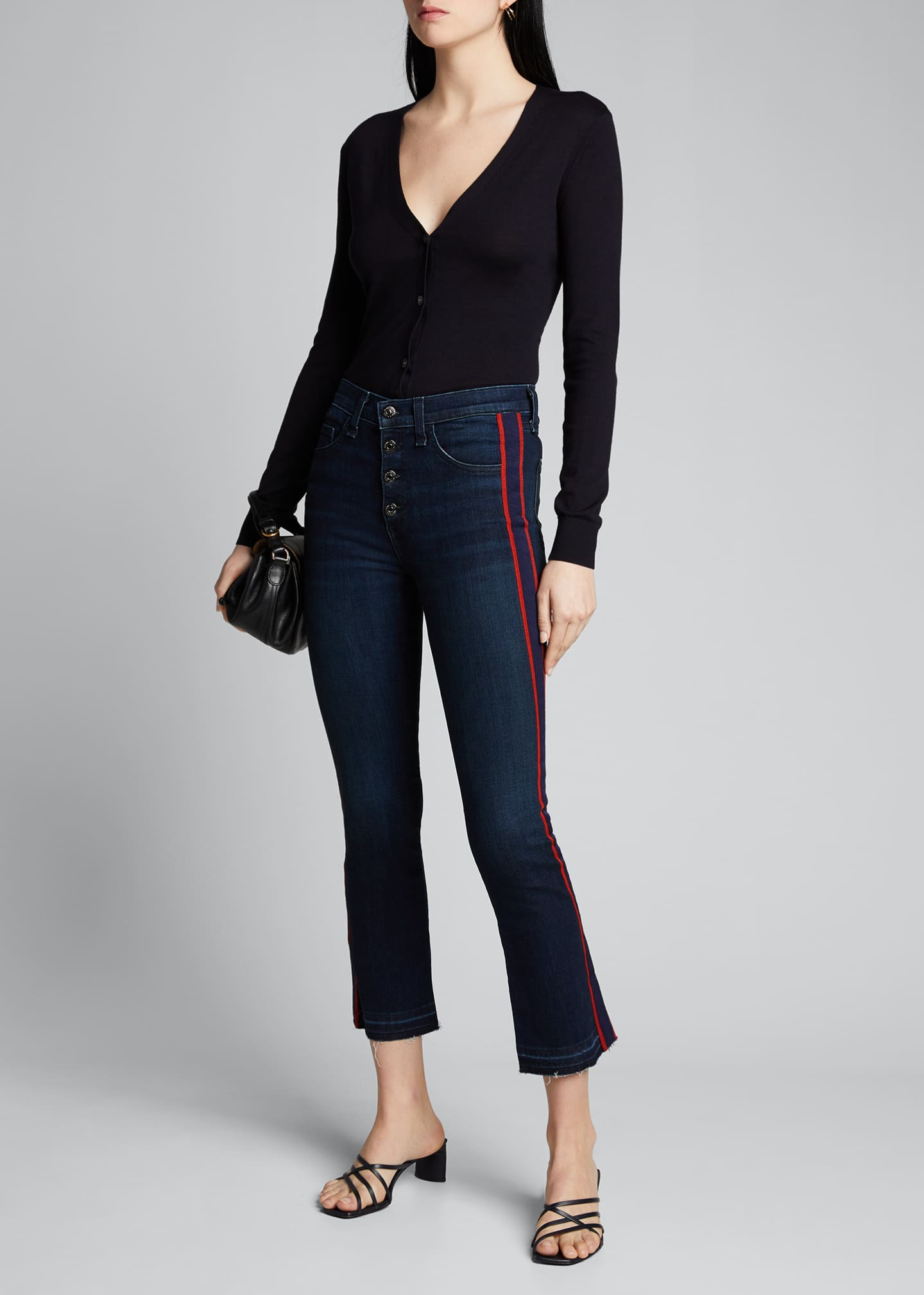 Image 1 of 5: Carolyn Baby Boot Cropped Jeans w/ Tux Stripes