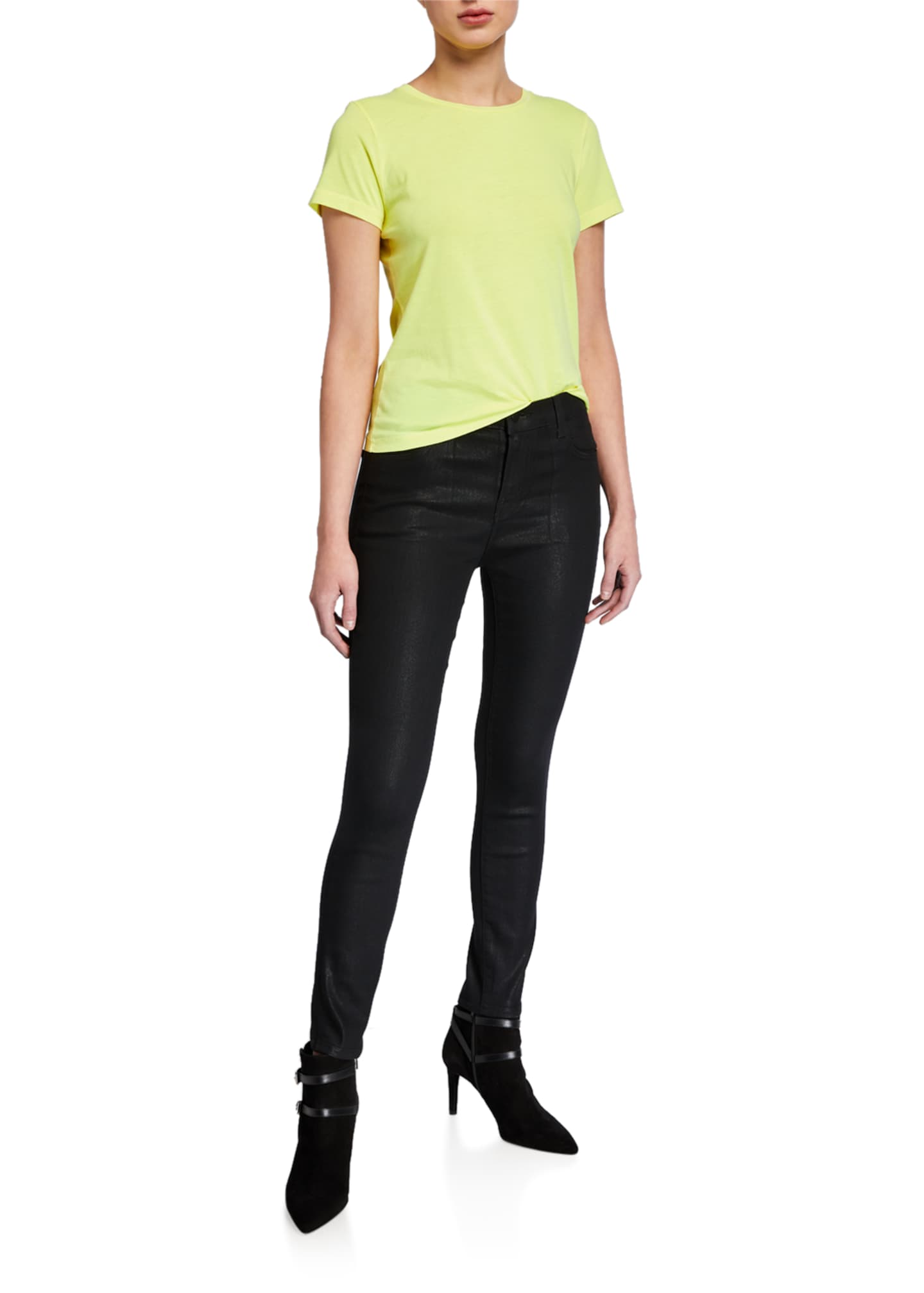 Image 3 of 3: Alana High-Rise Cropped Coated Skinny Pants