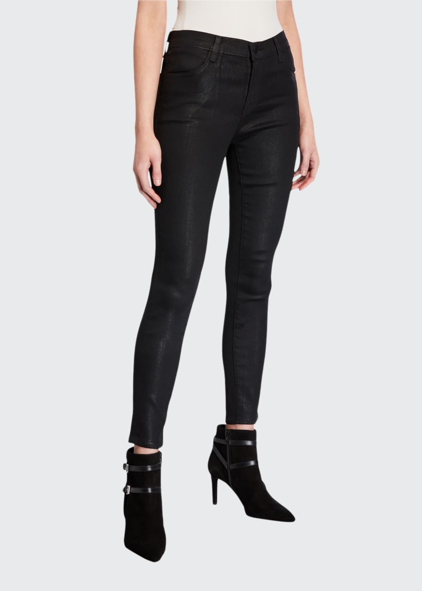 J Brand Alana High-Rise Cropped Coated Skinny Pants