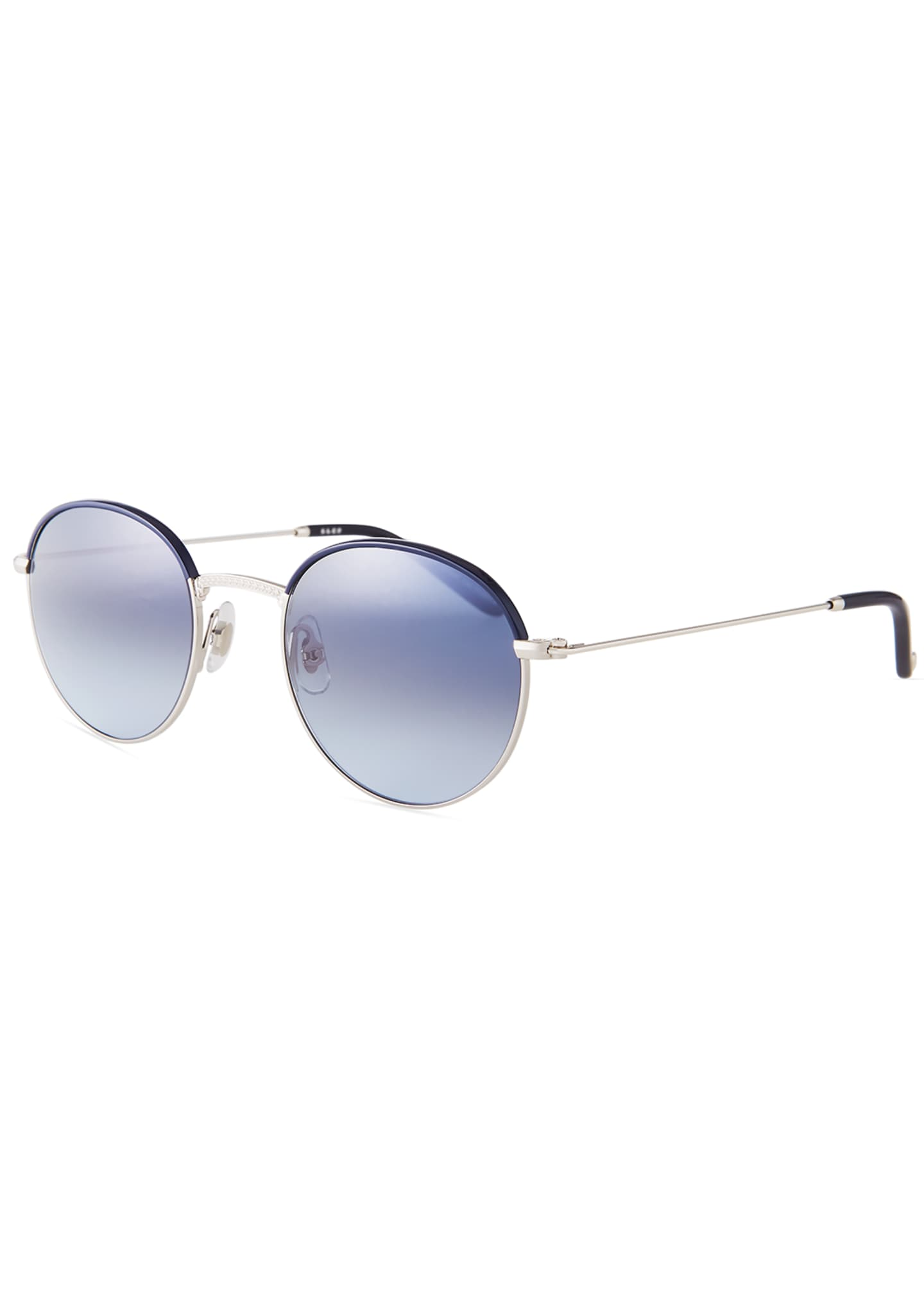 Garrett Leight Cloy Round Stainless Steel Sunglasses w/