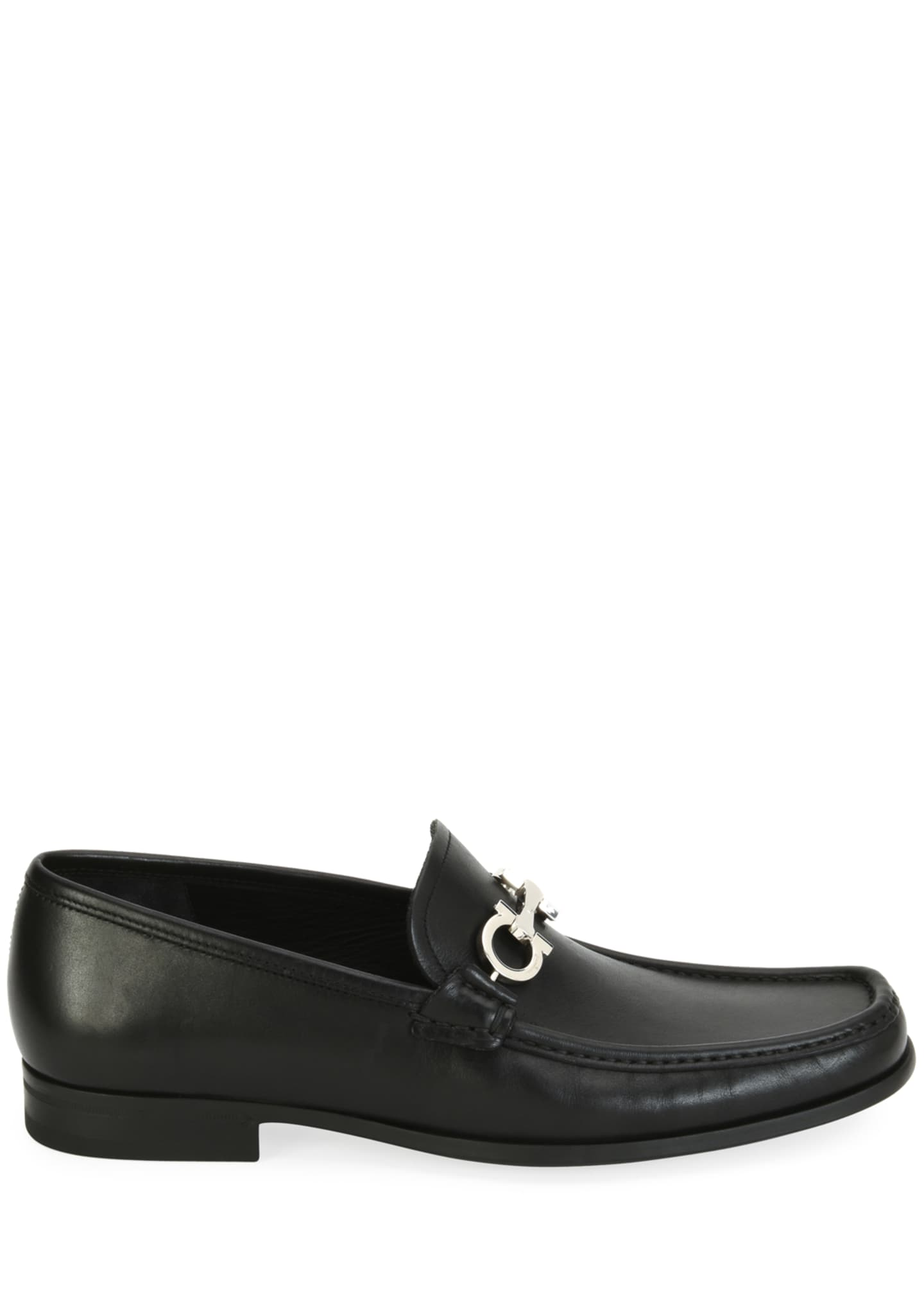 Image 2 of 3: Men's Leather Loafer with Reversible Gancini Ornament