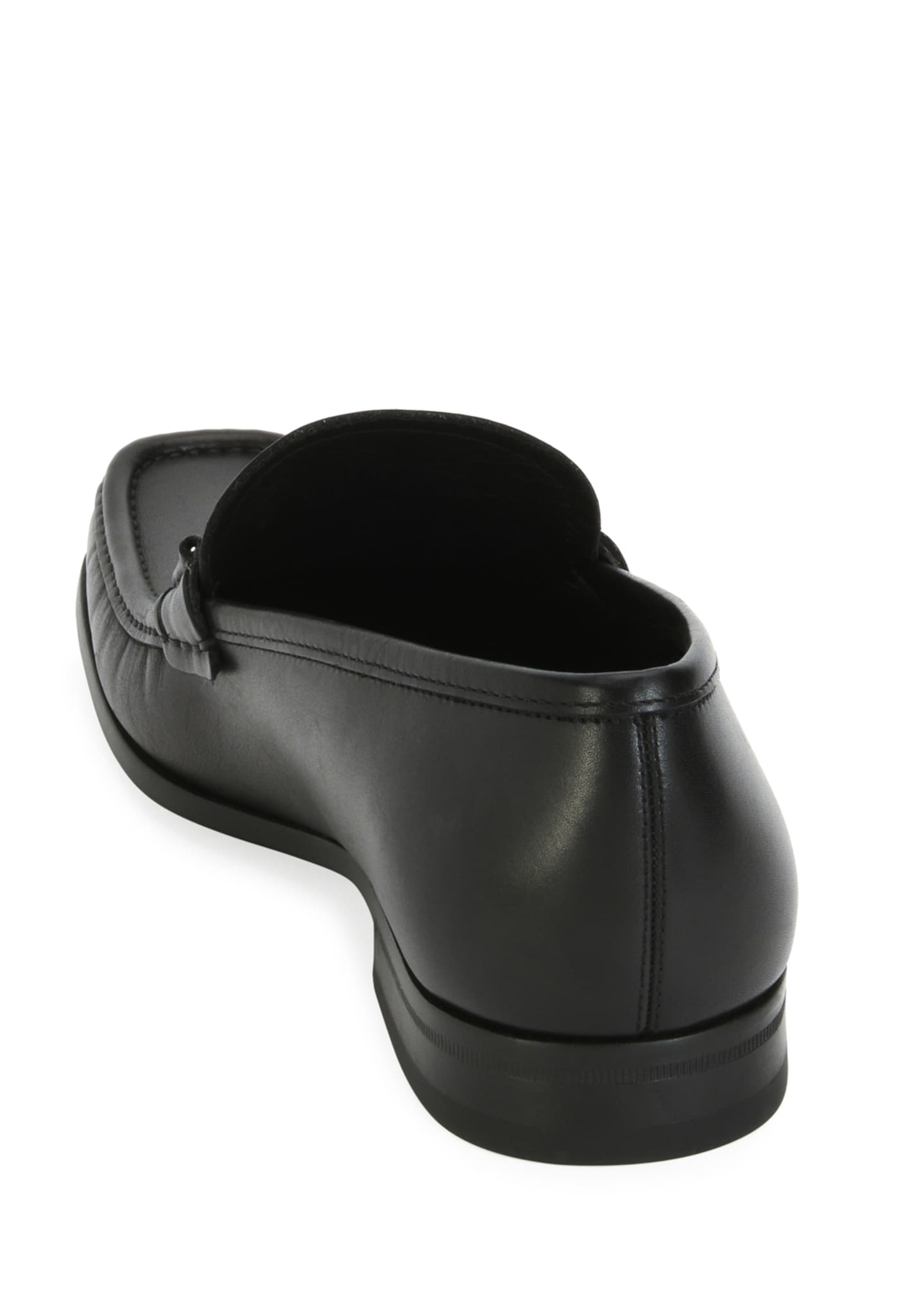 Image 3 of 3: Men's Leather Loafer with Reversible Gancini Ornament