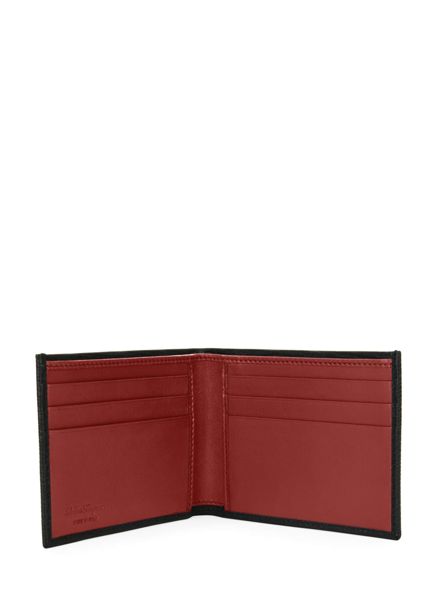Image 2 of 3: Men's Revival Gancini Bi-Fold Leather Wallet, Black/Red