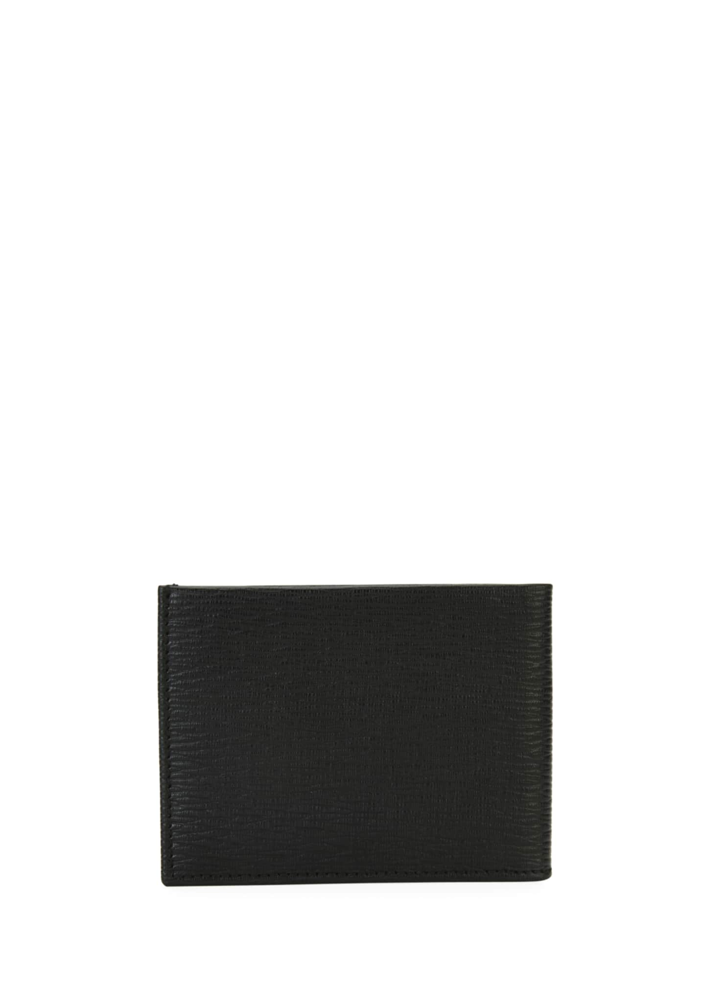 Image 3 of 3: Men's Revival Gancini Bi-Fold Leather Wallet, Black/Red